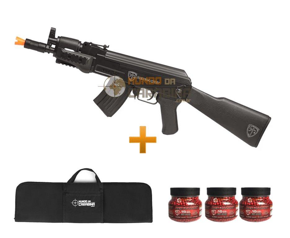 Rifle Airsoft Ak47u Spetsnaz 6,0mm - Red Jacket + 6000 Esferas 0,15g + Capa