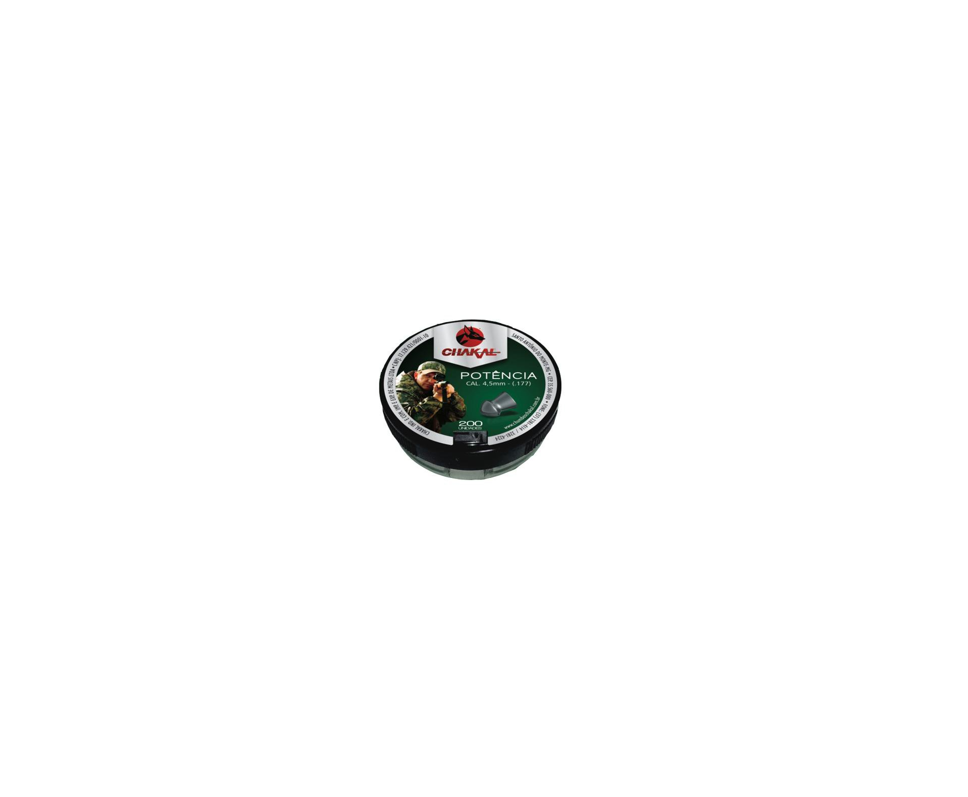 Chumbinho Potência Calibre 4,5 Mm - 200 Unidades - Chakal