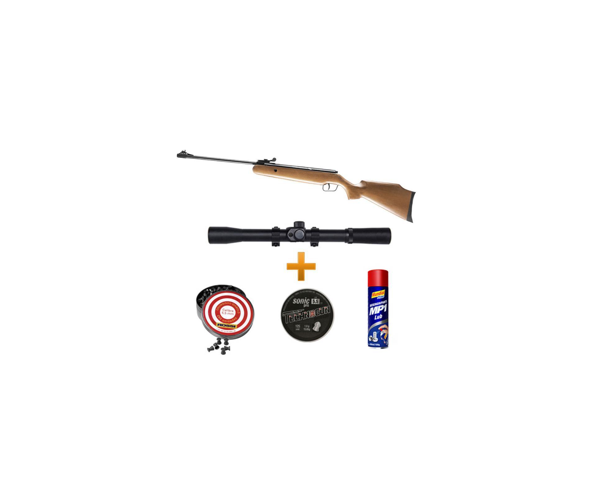 Carabina De Pressão Bam B12-6 F22 5,5 Mm + Luneta 4x20 + Chumbinhos+ Lubrificante