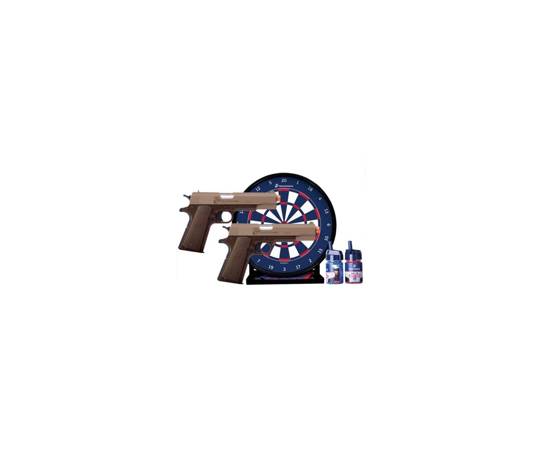Kit De Airsoft Marines - 2 Pistolas 1911 + Alvo Gel + Esferas Plásticas - Crosman