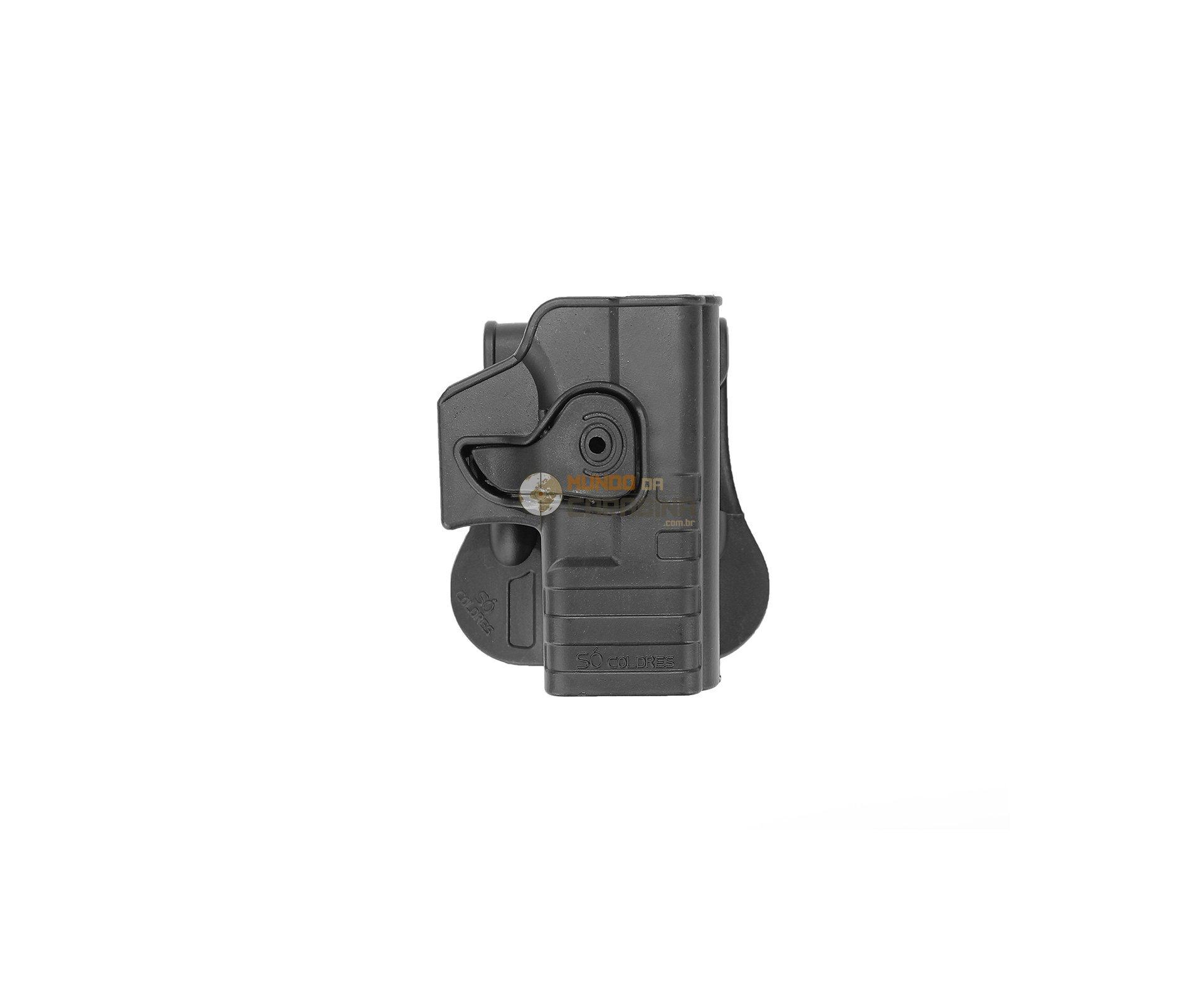 Coldre Cintura Em Polimero Para Pistola Glock Com Trava E Rotativo (destro) - So Coldres