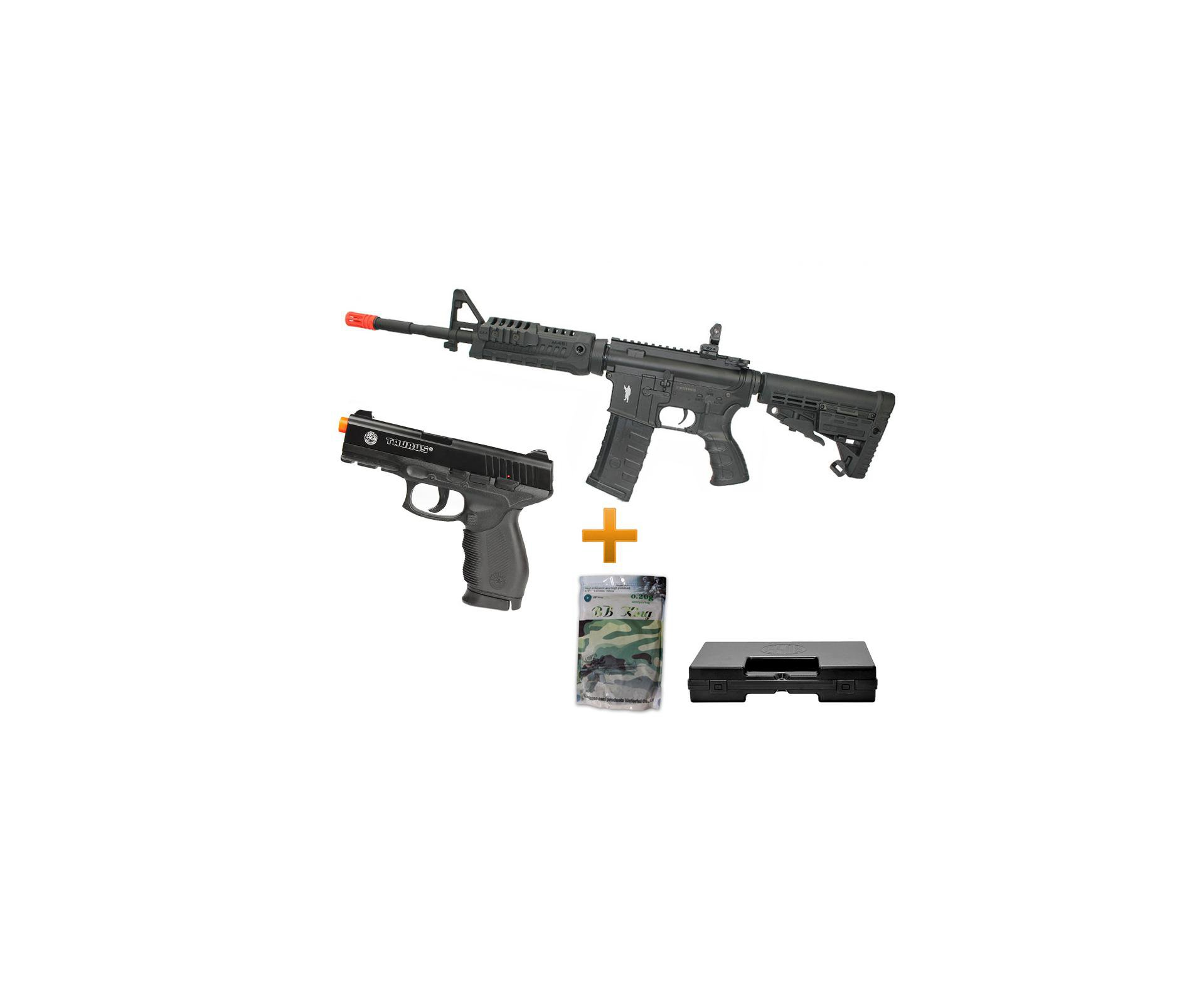 Rifle De Airsoft M4 Carbine Caa Custom Cal 6mm + Pistola Taurus Pt 24/7 Co2 + 02 Co2 + Esfera 0,20g - King Arms
