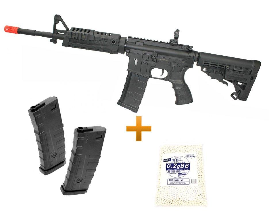 Rifle De Airsoft M4 Carbine Caa Custom Cal 6mm + 02 Mag Extra + Esfera 0,25g + Bateria E Carregador Lipo - King Arms