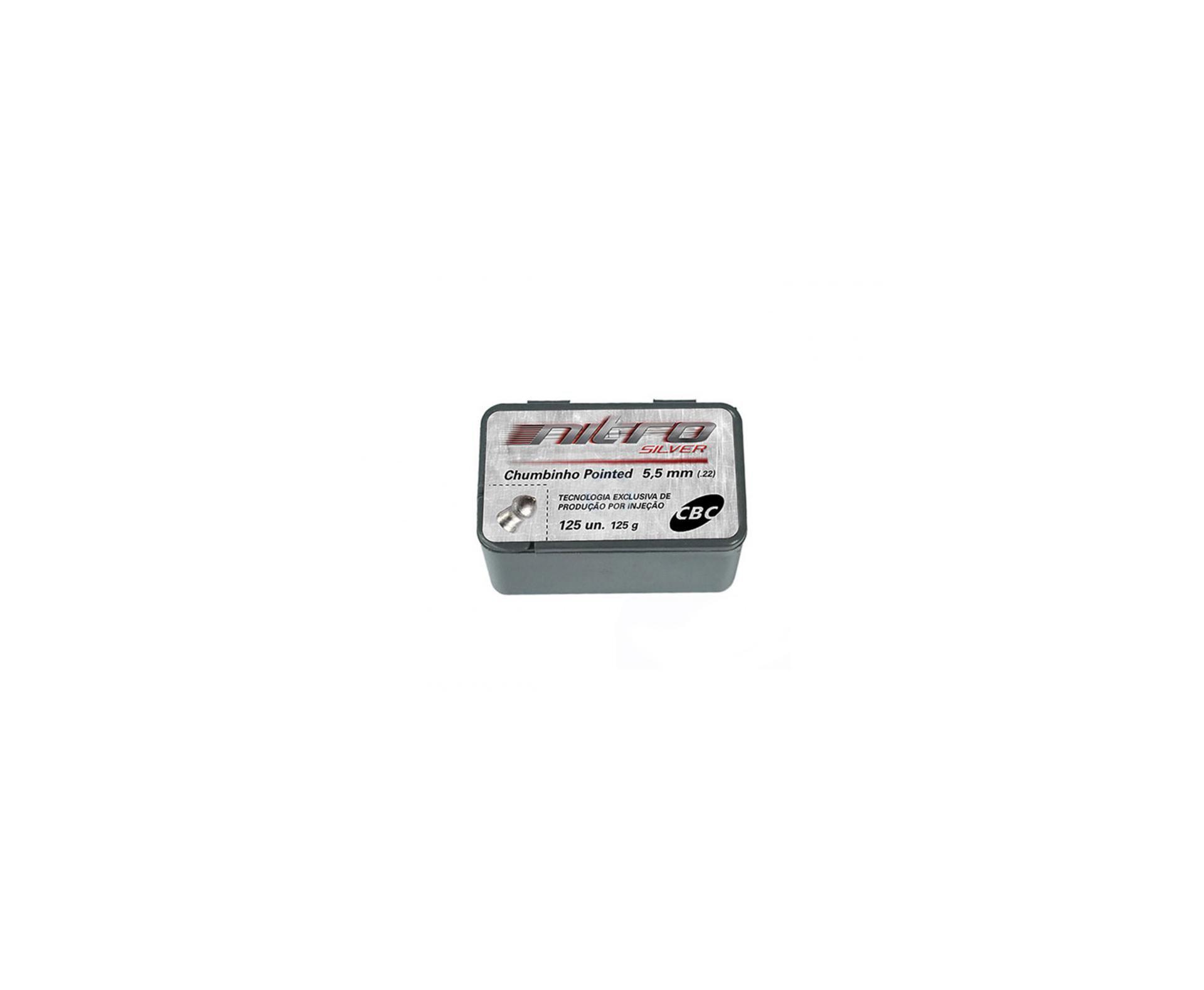 Chumbinho Cbc Nitro Silver Pointed 5,5mm Com 125und
