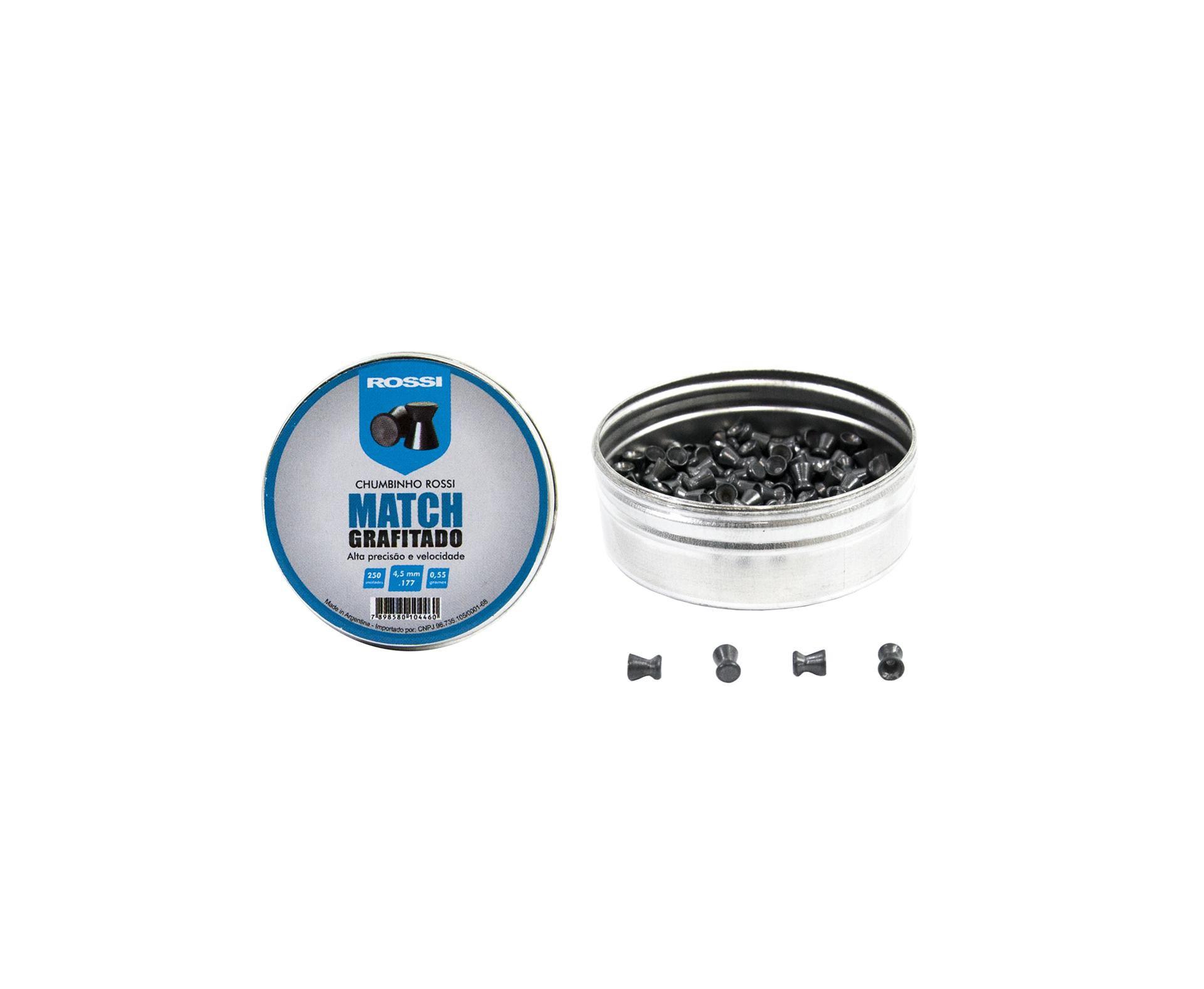Chumbinho Match Grafitado 4,5mm (250un) - Rossi