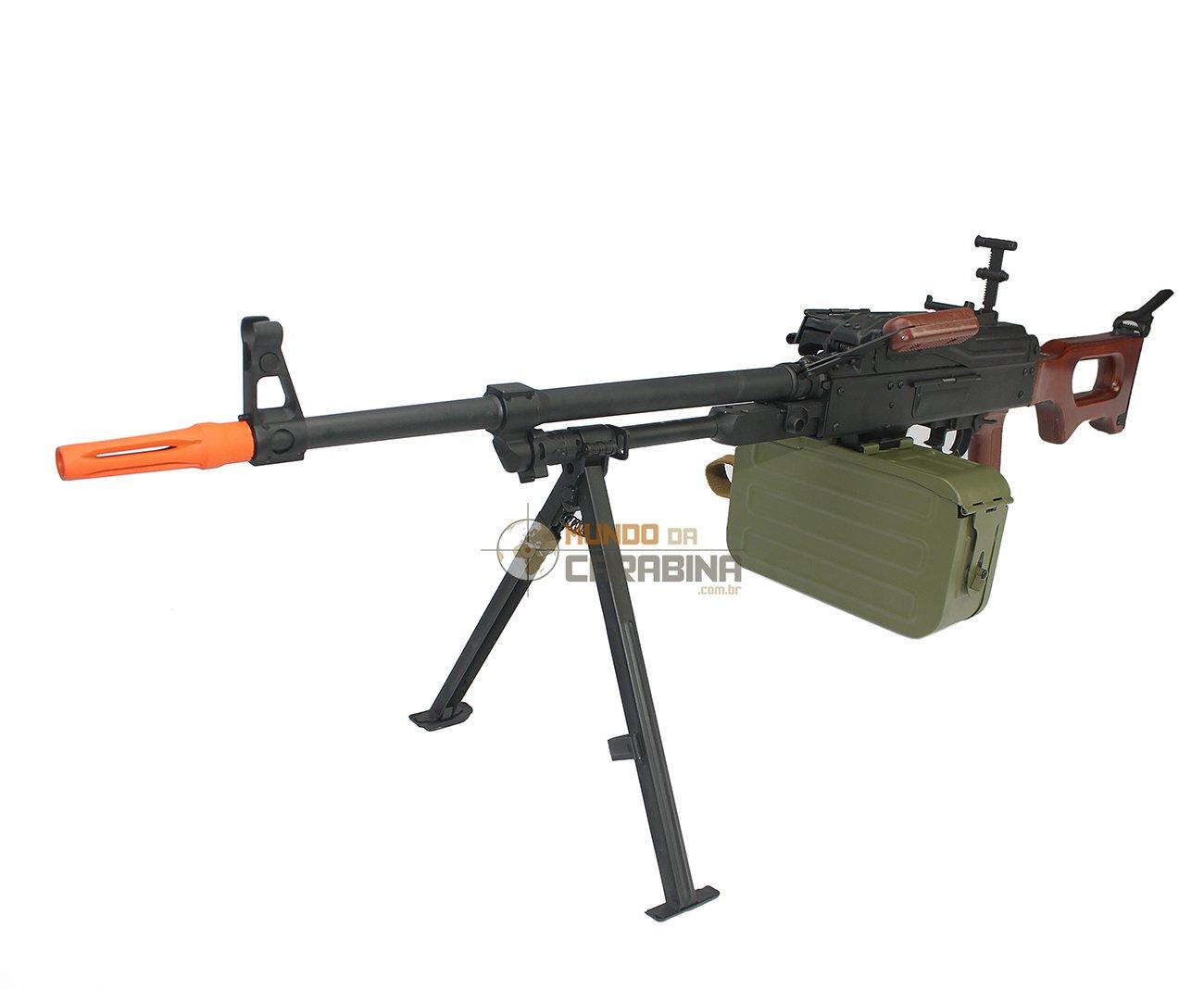 Rifle De Airsoft Metralhadora Pkm-w Full Metal - Coronha Madeira Cal 6mm Bivolt - A&k