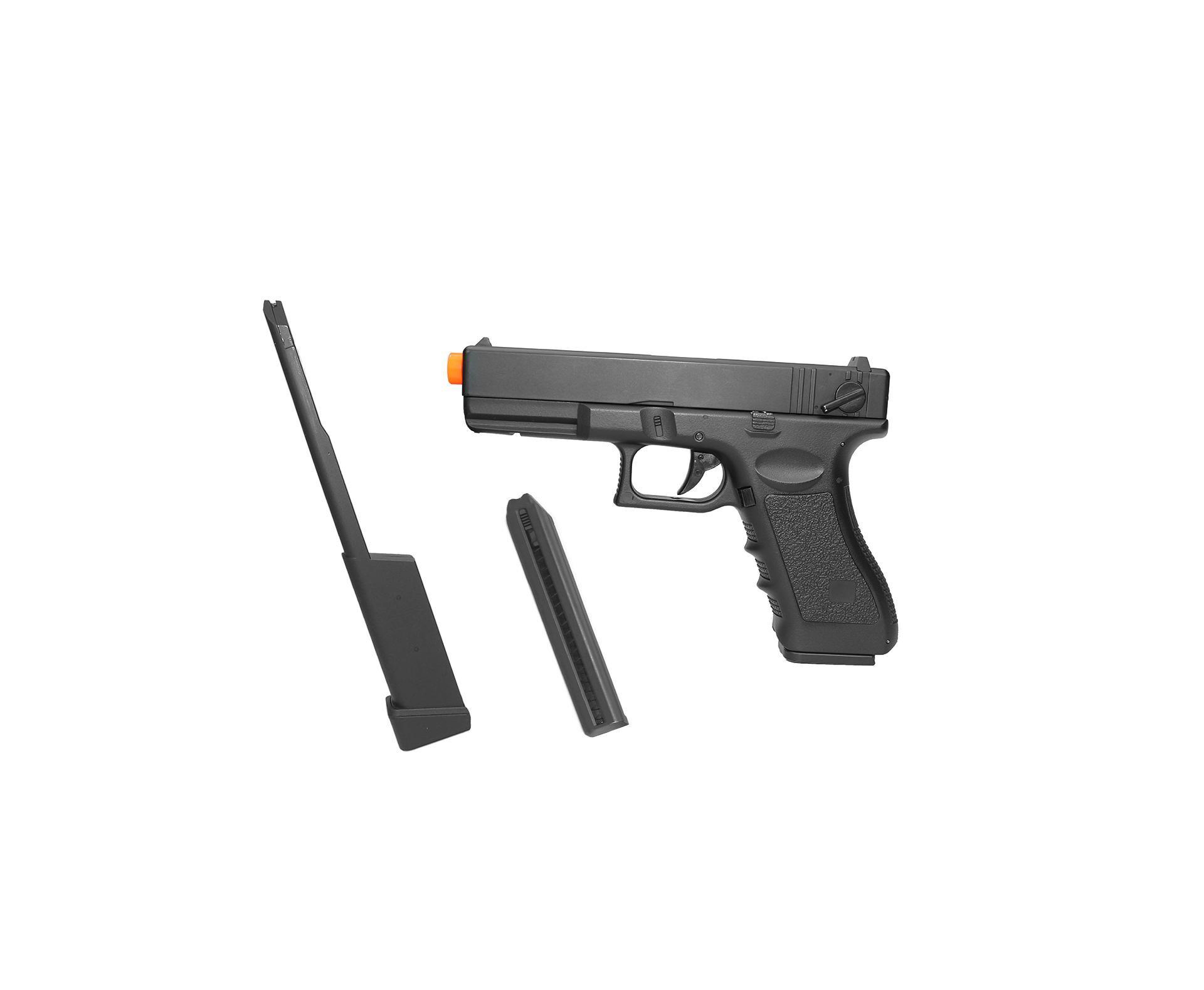 Pistola De Airsoft Eletrica Glock G18c + Magazine Estendido + Case Deluxe - Calibre 6,0 Mm - Cyma