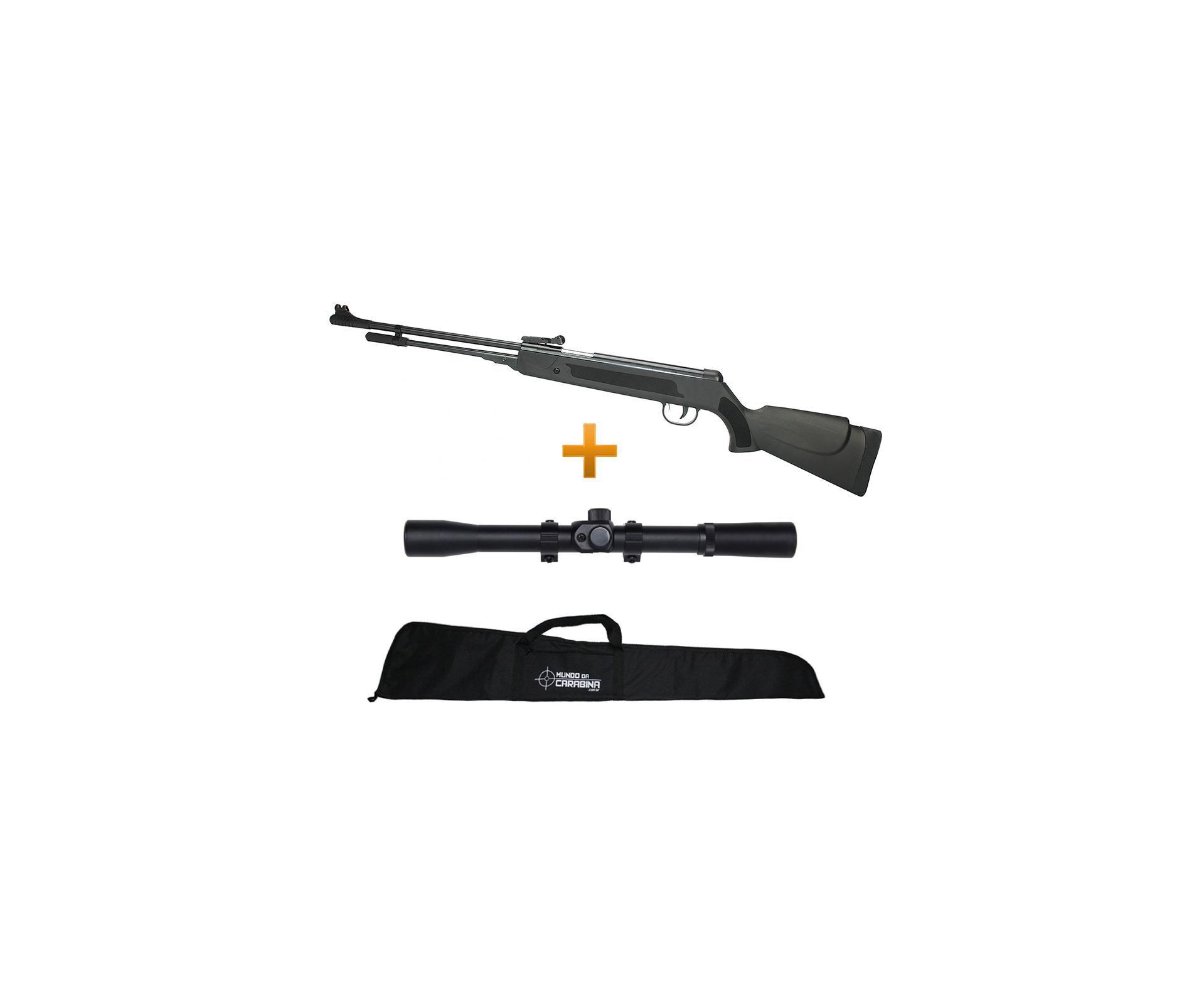 Carabina De Pressão Spring Black Cal 5,5mm + Capa + Luneta 4x20 - Fixxar