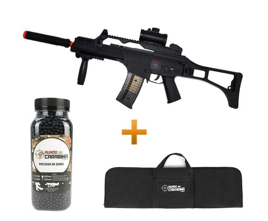 Rifle De Airsoft G36c Elétrico Cal 6,0mm Bivolt + Esfera 5000 0,12g + Capa Almofada - H&k