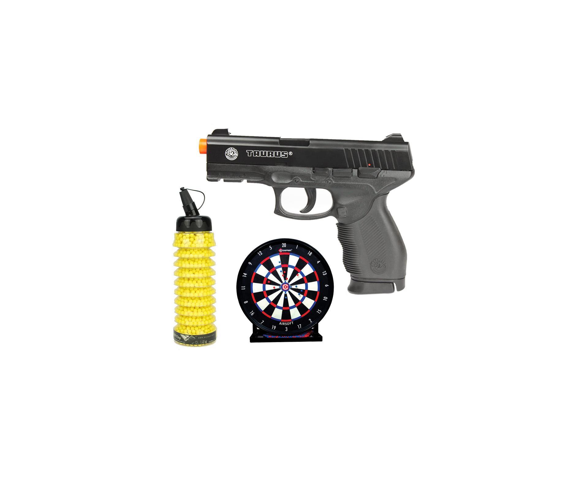 Pistola De Airsoft Taurus Pt 24/7 Semi/metal Cal 6,0 + Alvo Colante + 2300 Bbs 0,12g - Cyber Gun