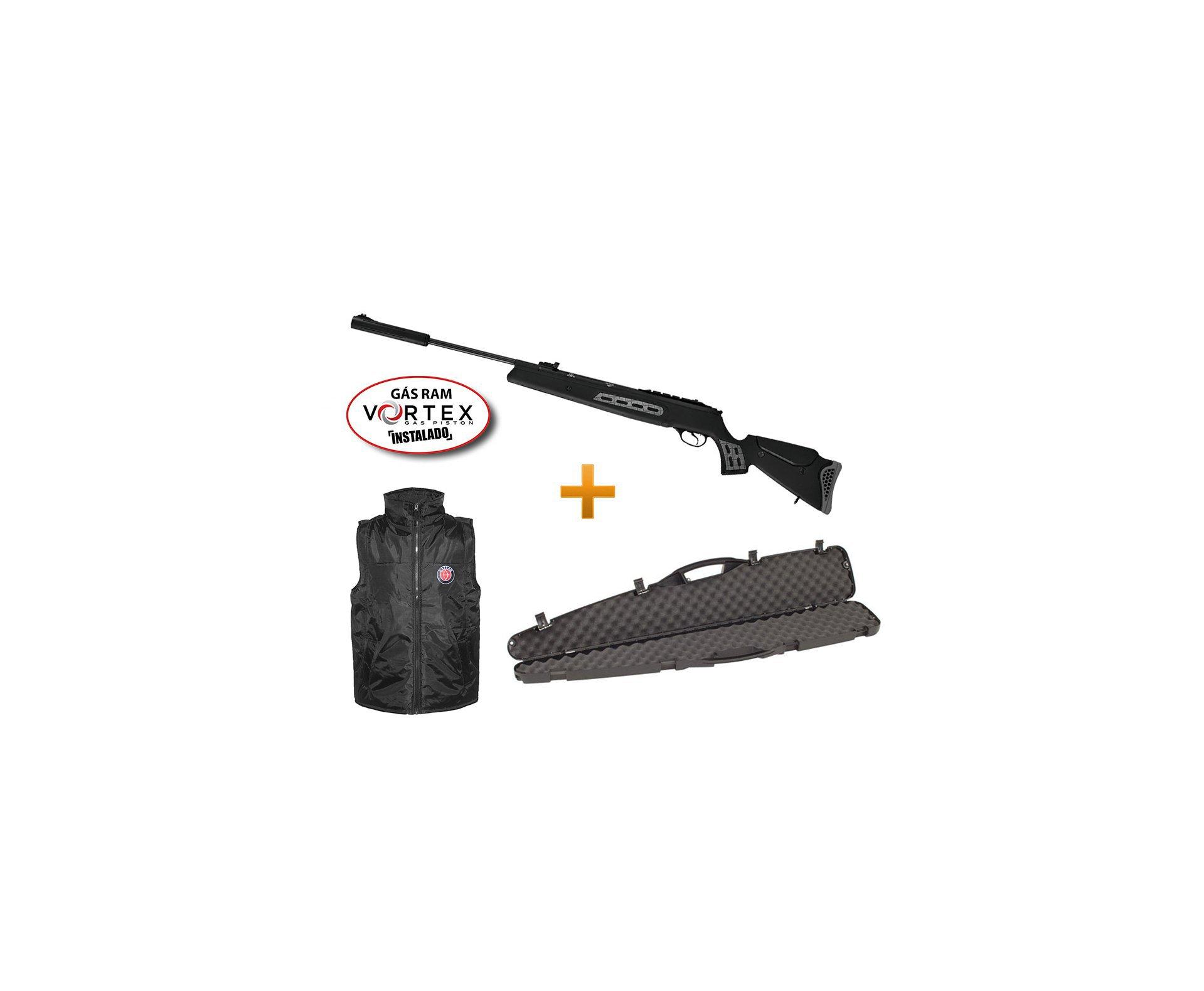 Carabina De Pressão Hatsan Ht 125 Sniper Vortex Gas Ram 75kg 5,5 Mm + Case + Colete Hatsan - Hatsan