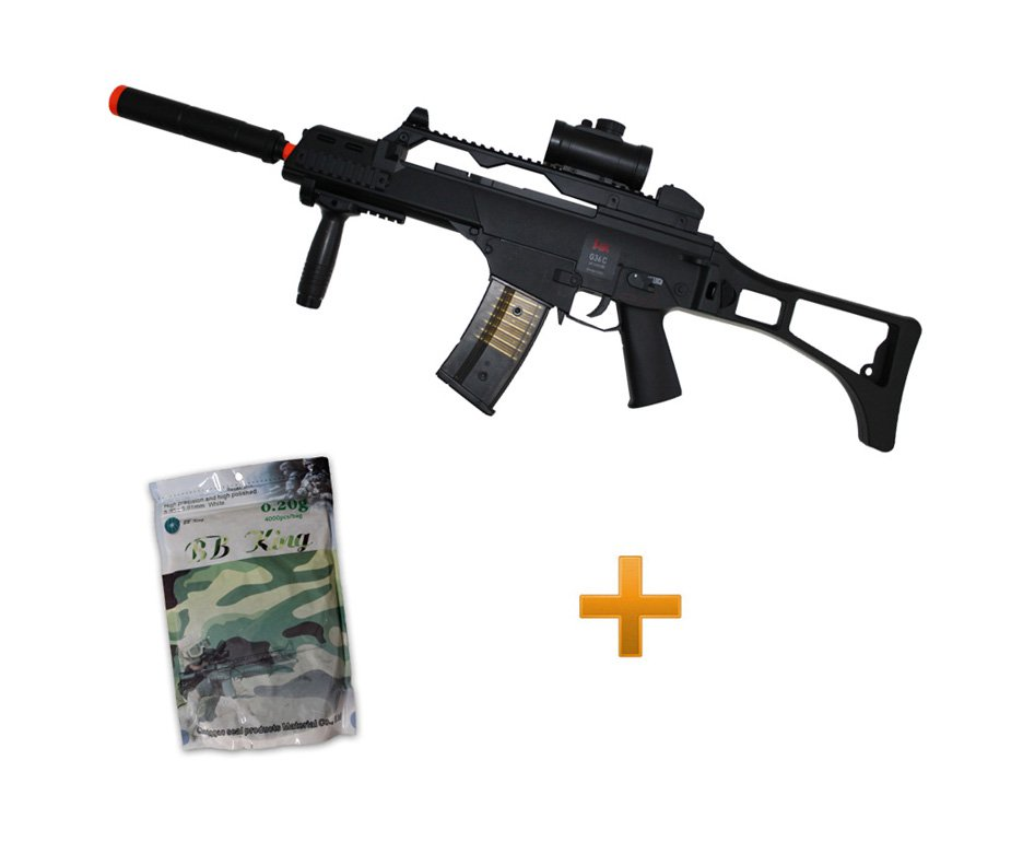 Rifle De Airsoft G36c - Calibre 6,0 Mm - Elétrico - H&k + Esfera 0,20g Com 4000 Bb King