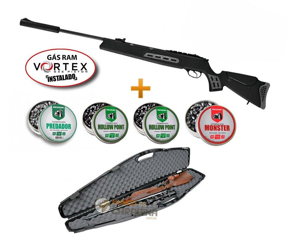 Carabina De Pressão Hatsan Ht 125 Sniper Vortex  Gas Ram 75kg + Case Rigido + 04 Lt Chumbinho - Hatsan