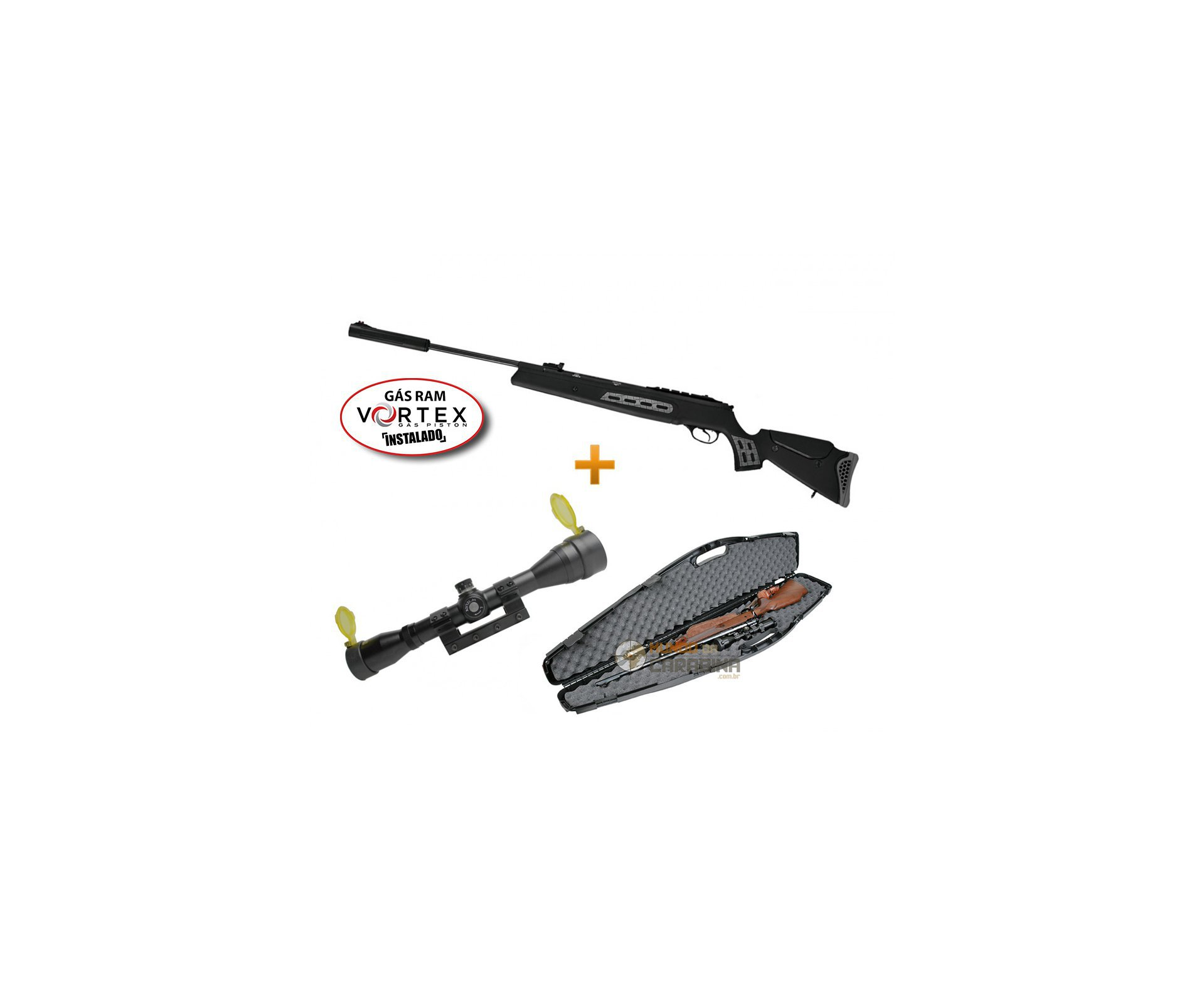 Carabina De Pressão Ht125 Sniper Vortex Gas Ram 75kg + Luneta 4x32 Gold Rossi + Case Rigido - Hatsan
