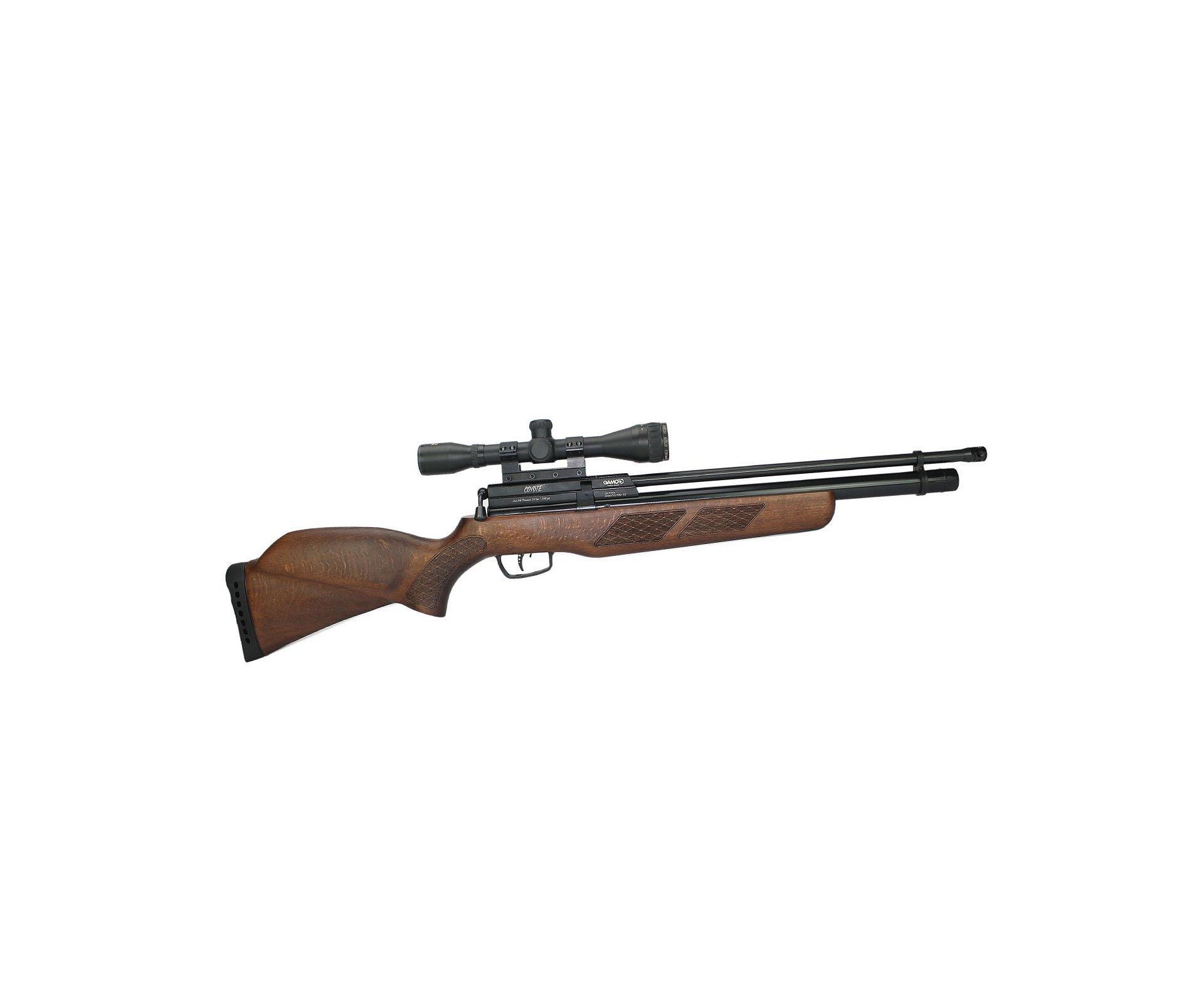 Carabina Pcp Gamo Coyote - Madeira Cal 5,5mm + Luneta 4x32 Gold Crow Rossi + Bomba Hand Pump Inox - Gamo