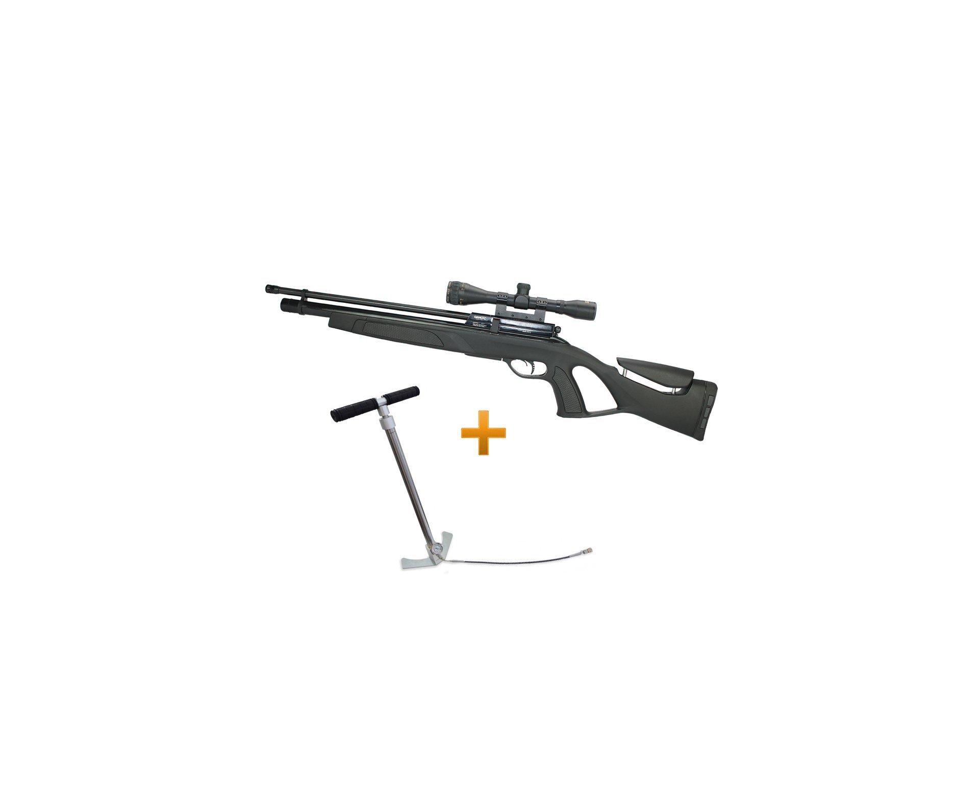 Carabina Pcp Gamo Coyote Black Cal 5,5mm + Luneta 4x32 Gold Crow Rossi + Bomba Hand Pump Inox - Gamo