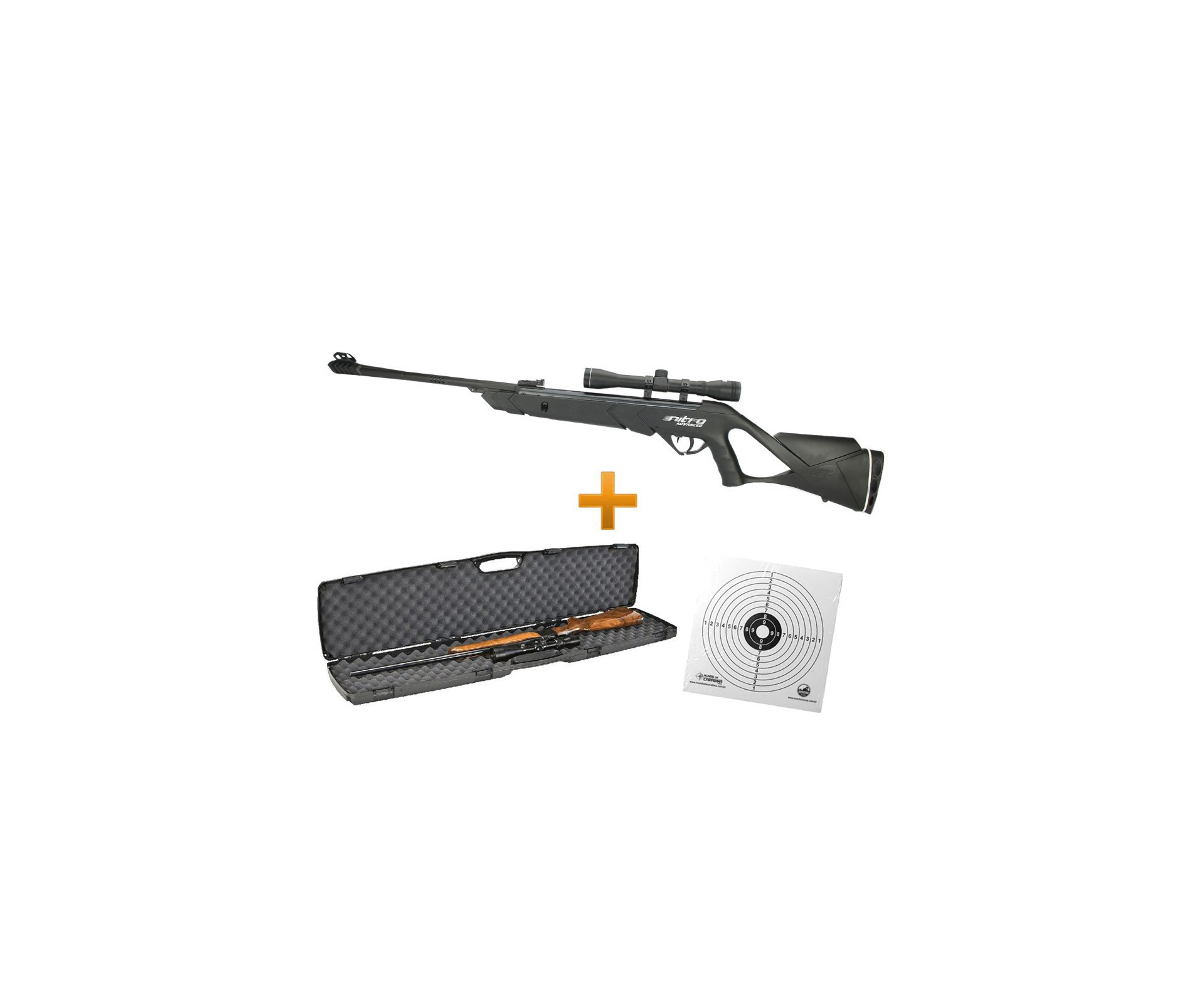 Carabina De Pressão Cbc F22 Advanced Nitro - Cal 5,5 + Luneta 4x32 + Case Plano + 50 Alvos Descartáveis