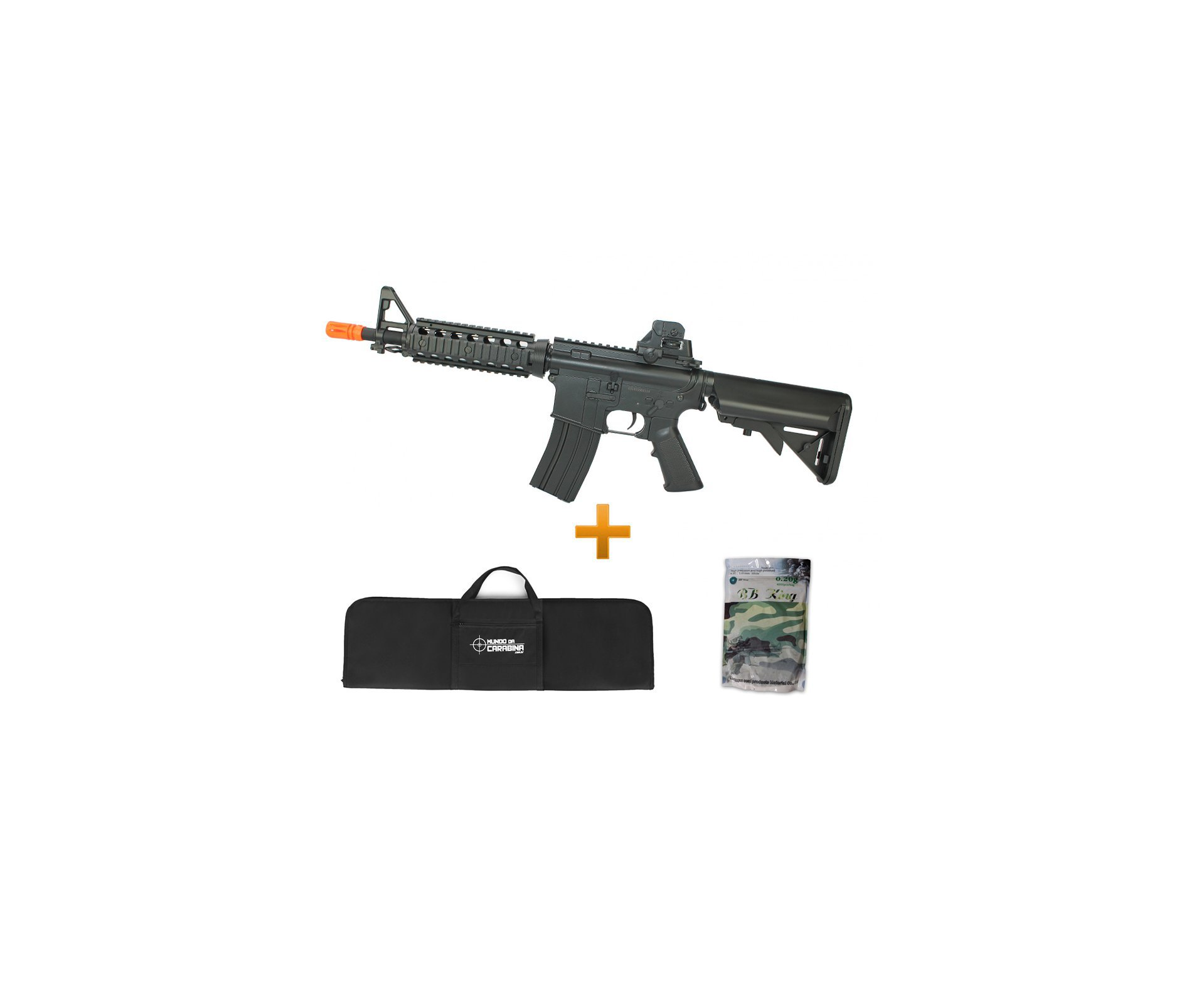 Rifle De Airsoft M4a1 Cqb Ris Cm506 Cal 6mm - Eletrico Bivolt + 4000 Esferas 0,20g + Capa - Cyma