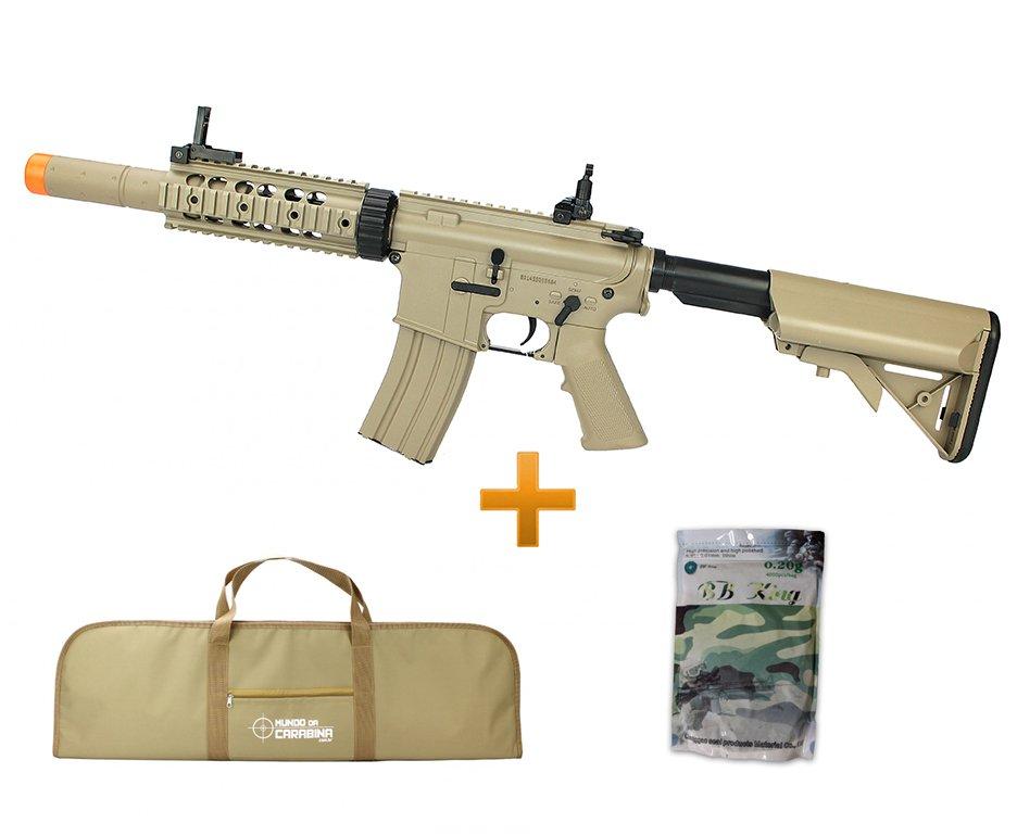 Rifle De Airsoft M4a1 Ris Tan Cal 6mm Cm513 Bivolt + 4000 Esferas 0,20g + Capa - Cyma
