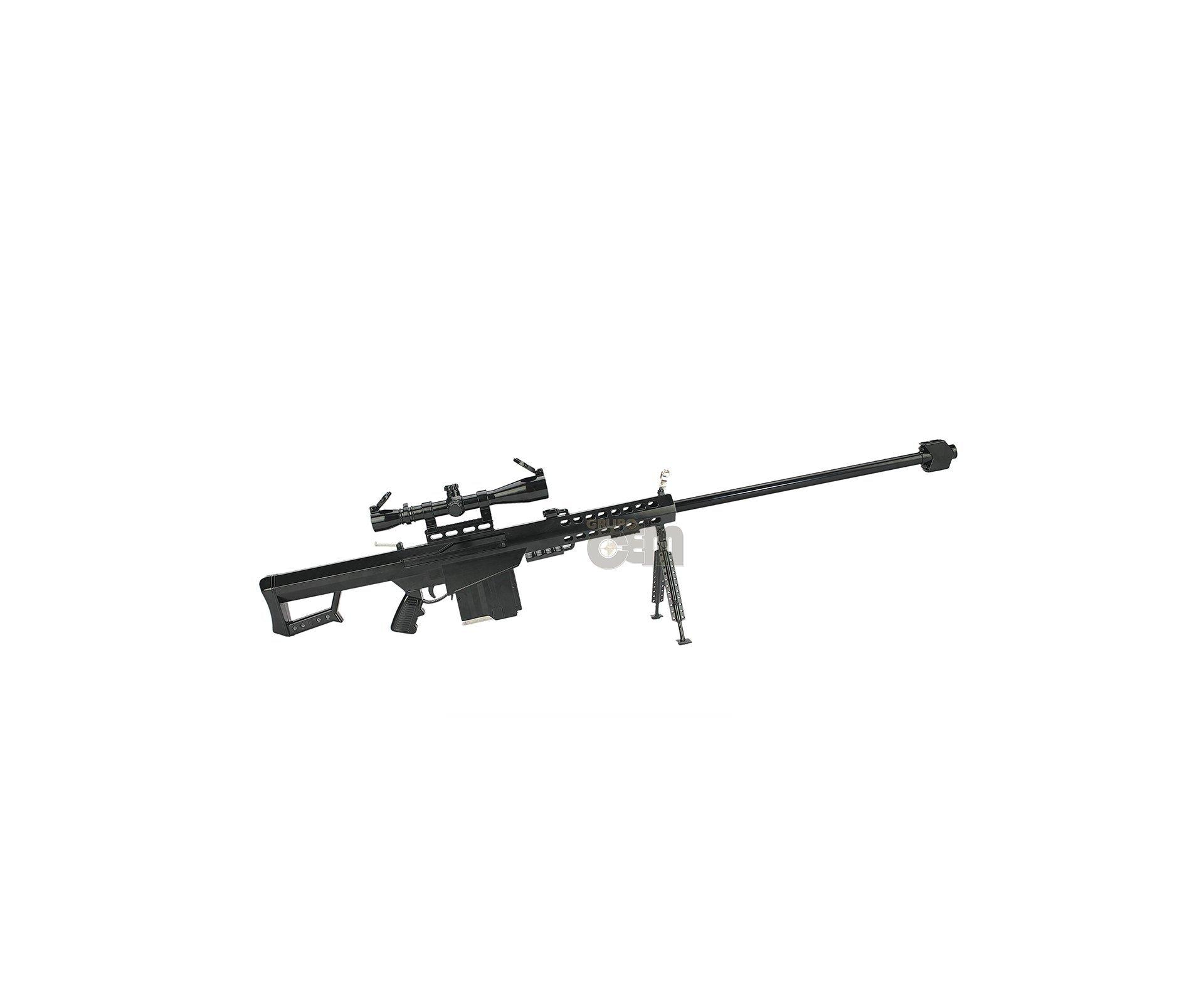 Rifle Sniper Barret M82a1 Miniatura Preta + Bipe- Arsenal Arms