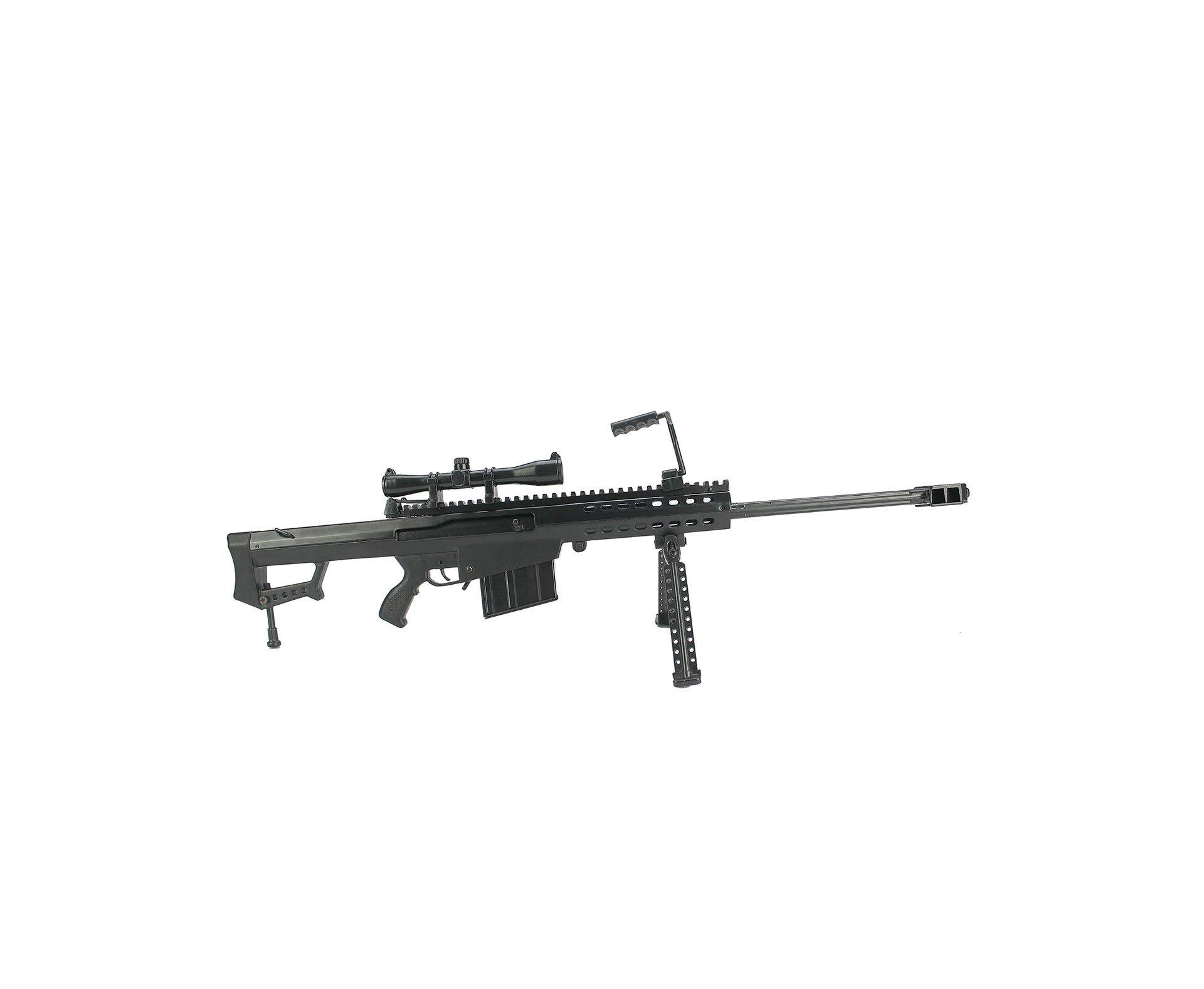 Rifle Sniper Barret Miniatura Metálica  Trilho Longo - Arsenal Guns