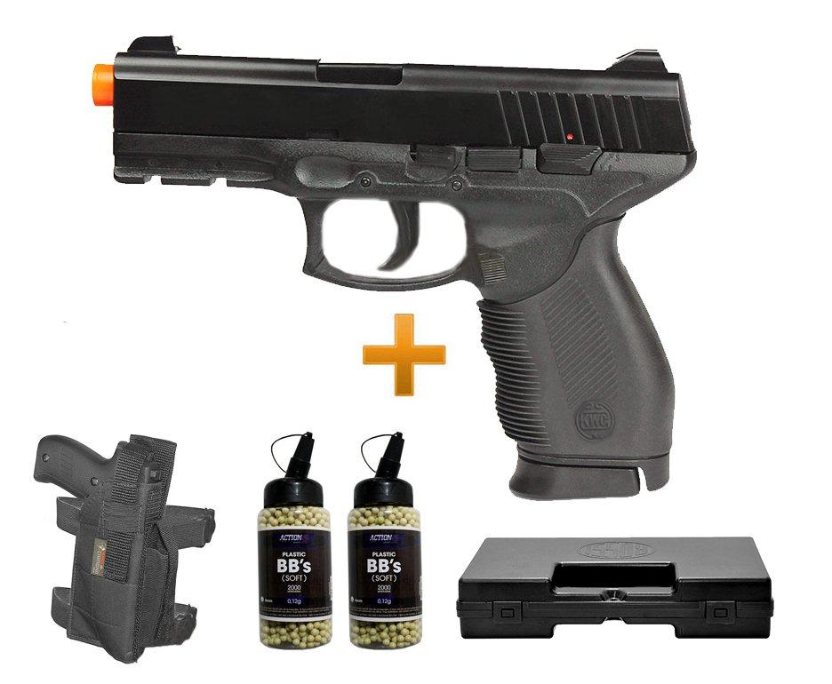 Pistola De Airsoft Pt 24/7 Spring + Coldre Perna + Case + 4000 Esferas 0,12g - Kwc