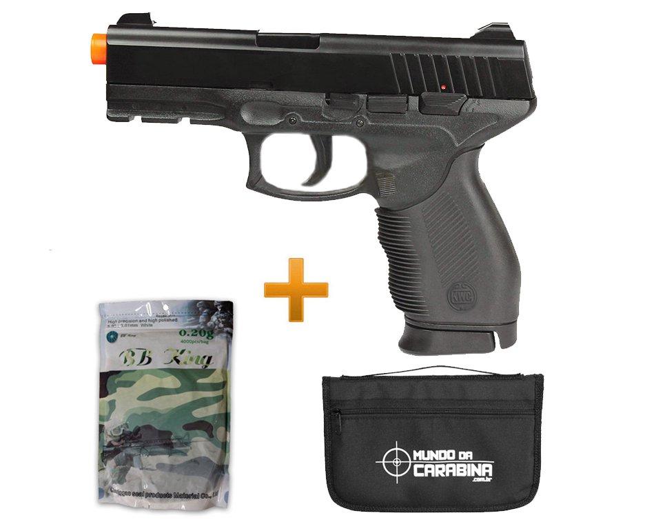 Pistola De Airsoft Pt 24/7 Spring + Capa Almofada Especial + 4000 Esferas 0,20g - Kwc