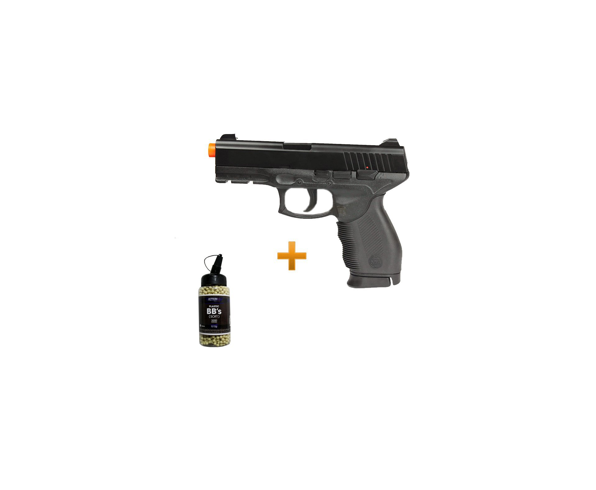 Pistola De Airsoft Pt 24/7 Semi/metal Cal 6,0mm + 2000 Esferas 0,12g - Kwc