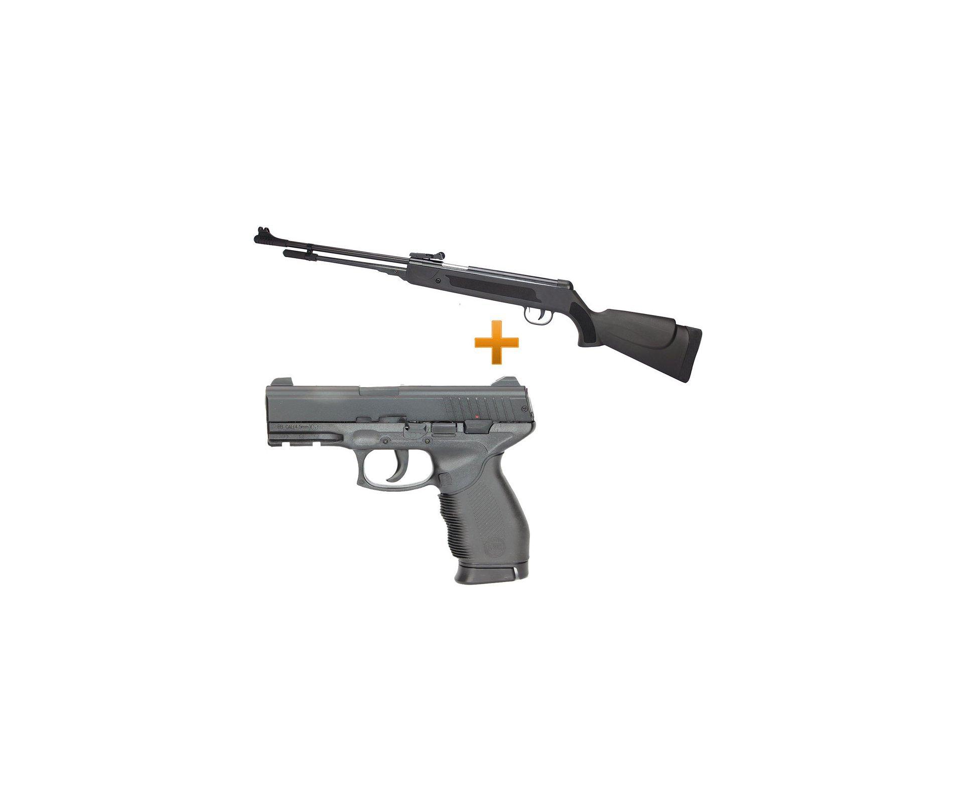 Carabina De Pressão Spring Black Cal 5,5mm + Pistola De Pressão 24/7 Mola - Slide Metal Cal 4,5mm - Kwc