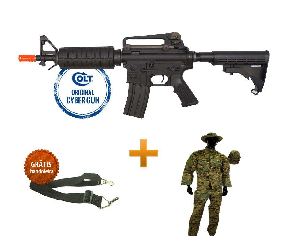 Rifle De Airsoft M4 Commando M933 - Calibre 6,0 Mm - Aeg - Colt Original 220v + Farda Swiss Arms - Tamanho M + Bandoleira 2 Pontas ()