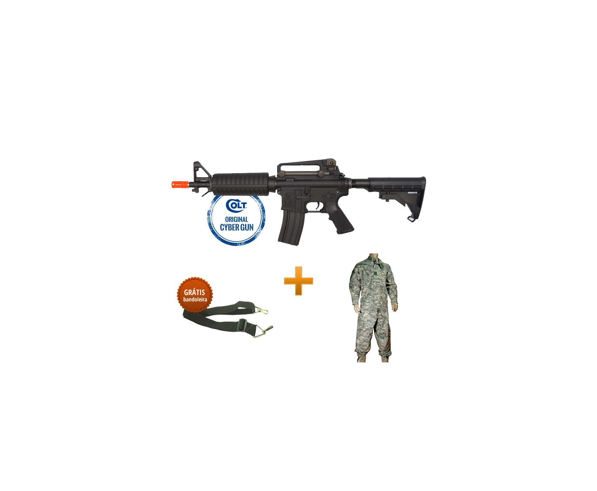 Rifle De Airsoft M4 Commando M933 - Calibre 6,0mm - Aeg - Colt Original 220v + Farda Swiss Arms Acu - Tamanho M + Bandoleira 2 Pontas