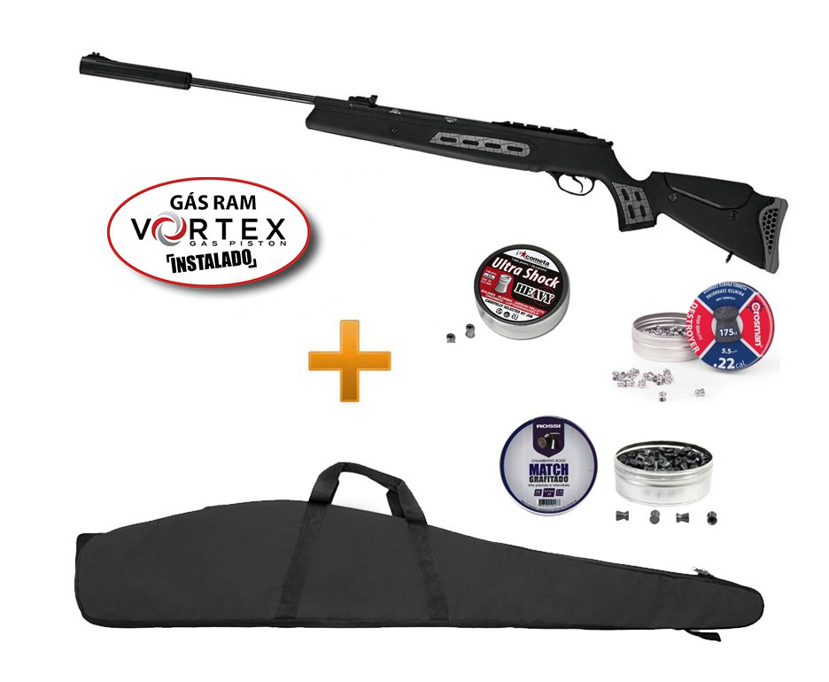 Carabina De Pressão Hatsan Ht 125 Sniper Vortex Gas Ram 75kg Chumbinhos E Capa