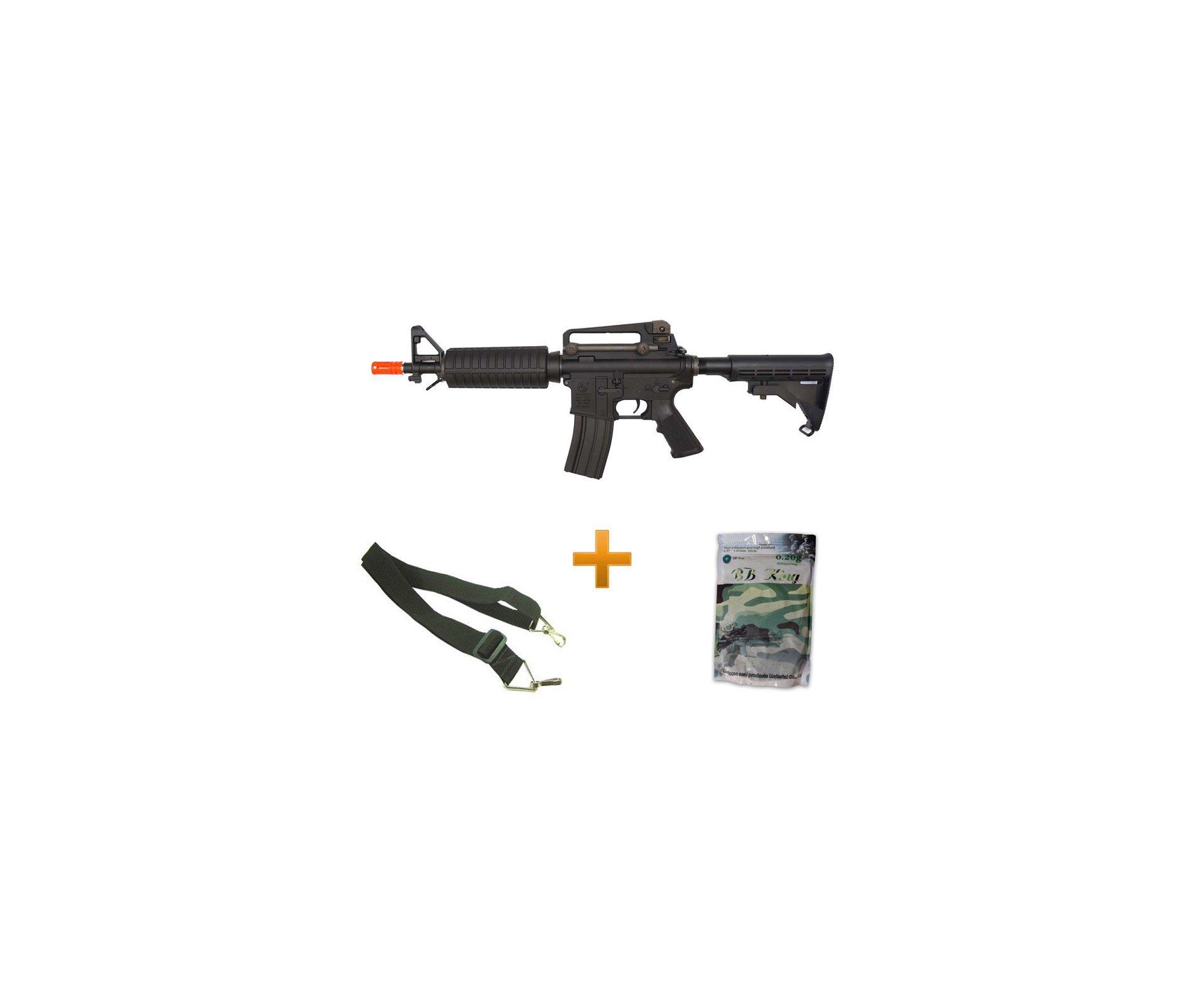 Rifle De Airsoft Colt M4 Commando M933 - Calibre 6,0mm - Aeg Original + 4.000 Esferas + Bandoleira