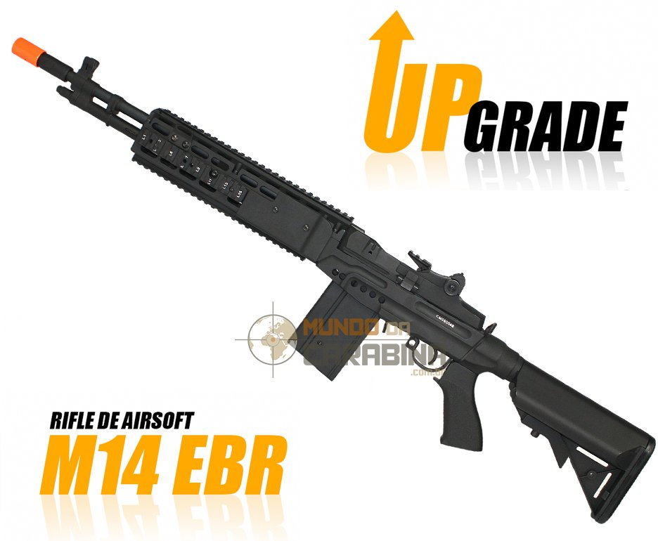Rifle De Airsoft M14 Ebr Full Metal Aeg  Customizado 450 Fps Bivolt Cal 6,0mm -cyma