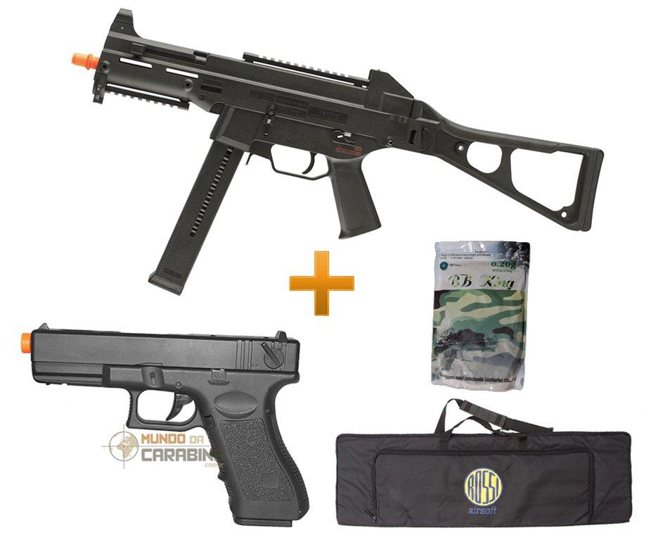 Rifle De Airsoft H&k Ump Aeg - Cal 6.0mm + Pistola Glock Cyma + Capa Hunting + 4000 Bbs 0,20g - Umarex