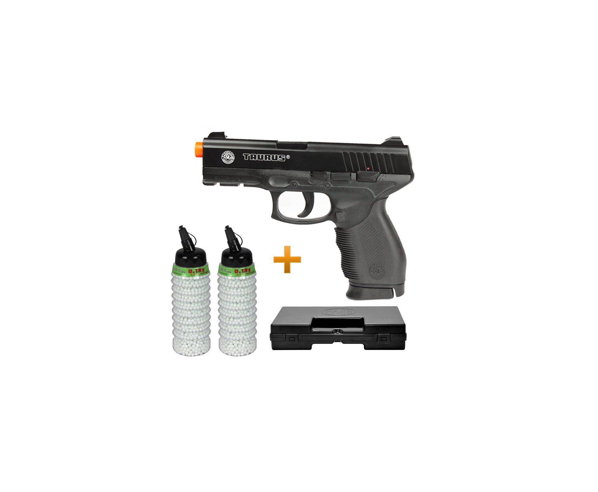 Pistola De Airsoft Taurus Pt 24/7 Semi/metal - Cal 6,0 Mm + 4000 Esferas 0,12g + Case Deluxe - Cybergun