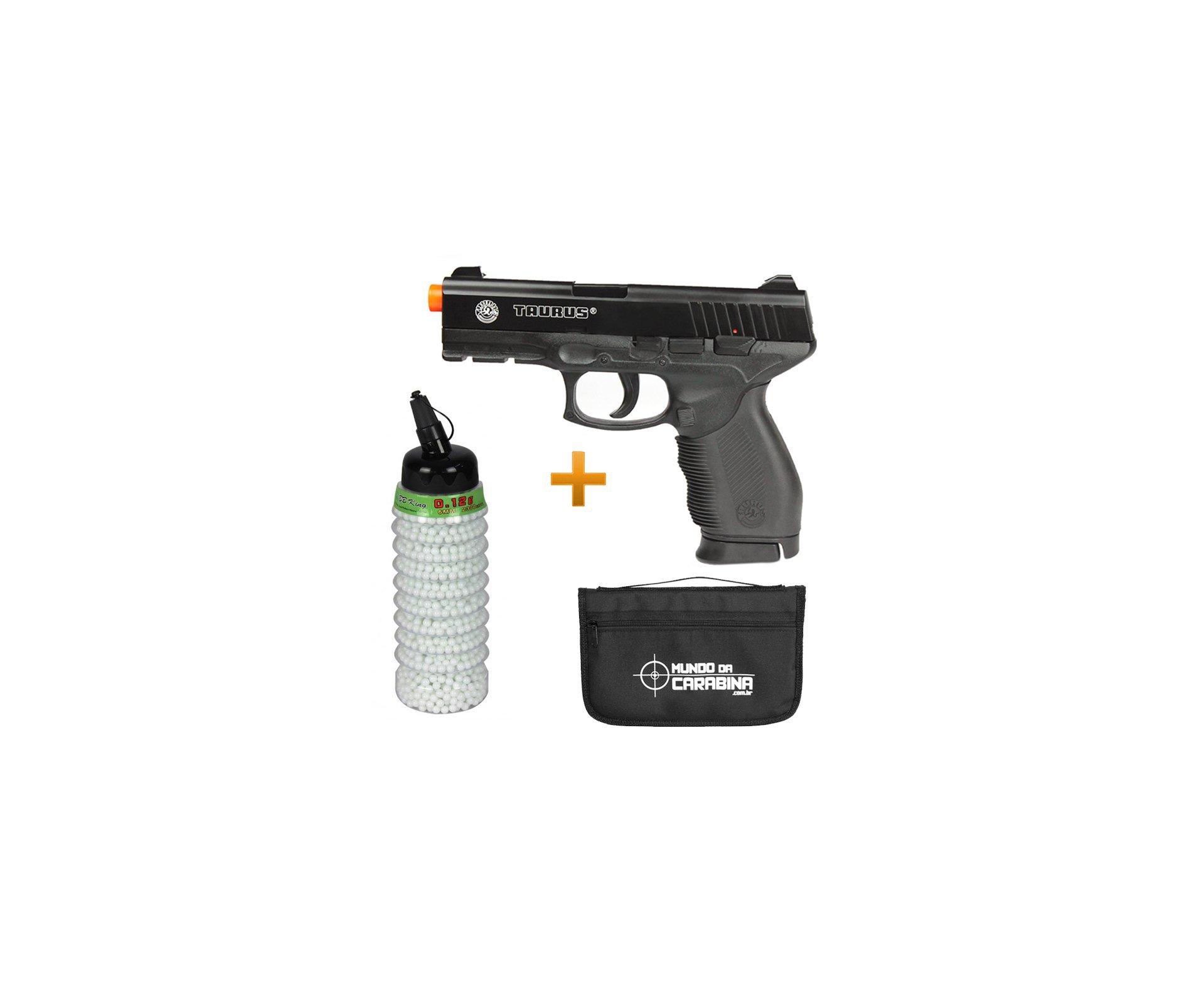 Pistola De Airsoft Taurus Pt 24/7 Semi/metal Cal 6,0 Mm + 4000 Esferas Plásticas 0,12g + Capa - Cybergun