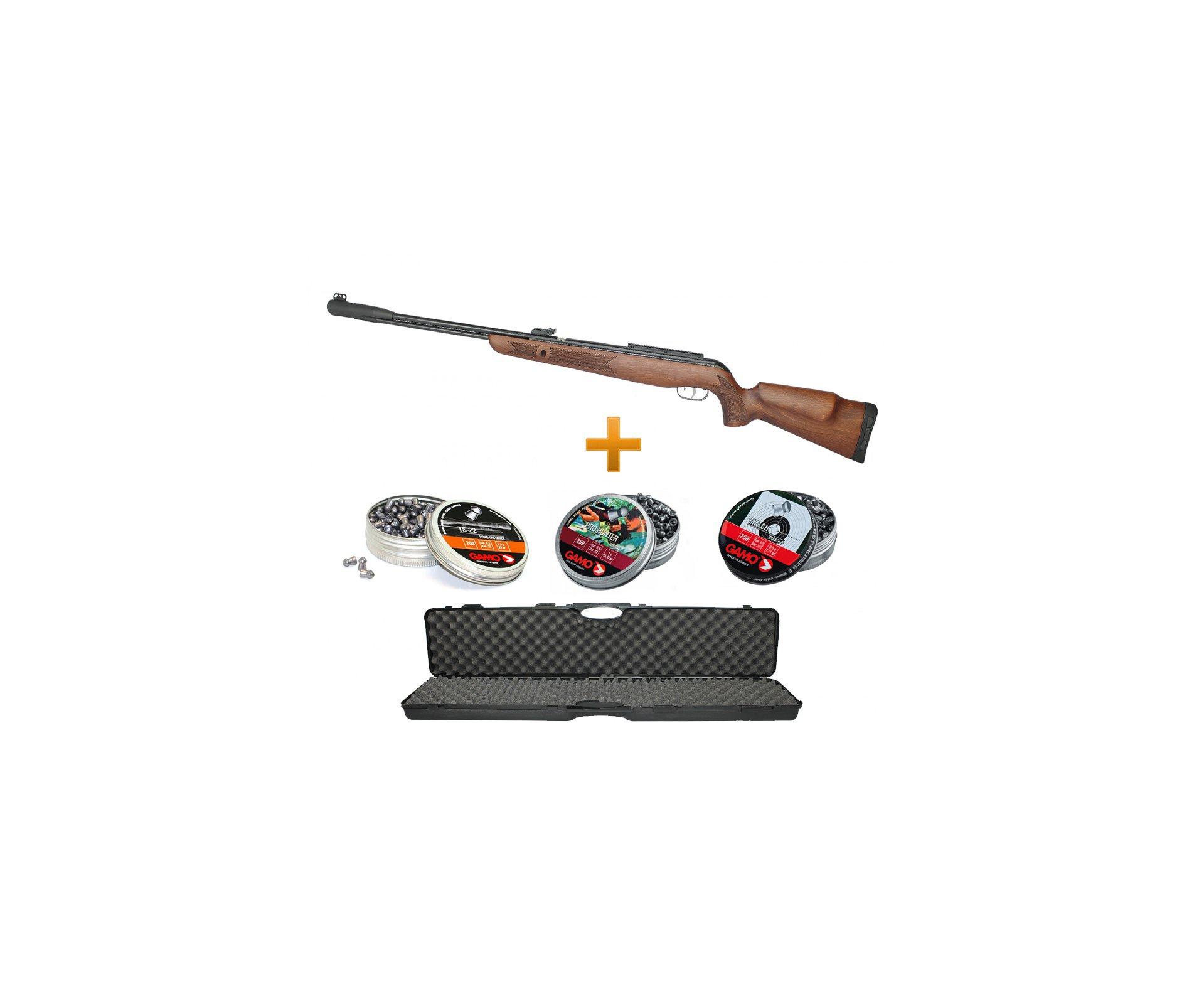 Carabina De Pressão Gamo Cfx Royal Madeira 5,5mm + Case Rigido + 03 Chumbinhos
