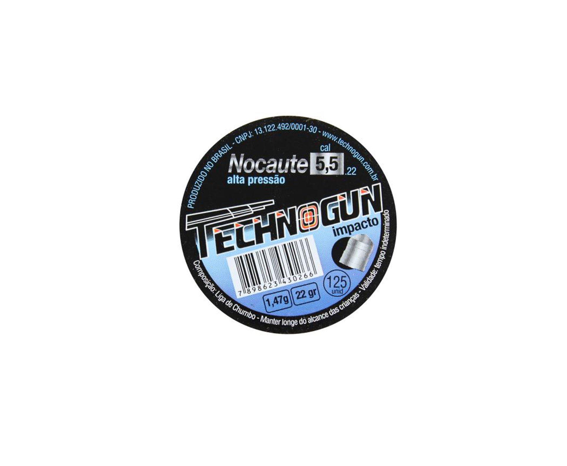 Chumbinho Technogun Nocaute Destruição 5,5mm Com 125uni