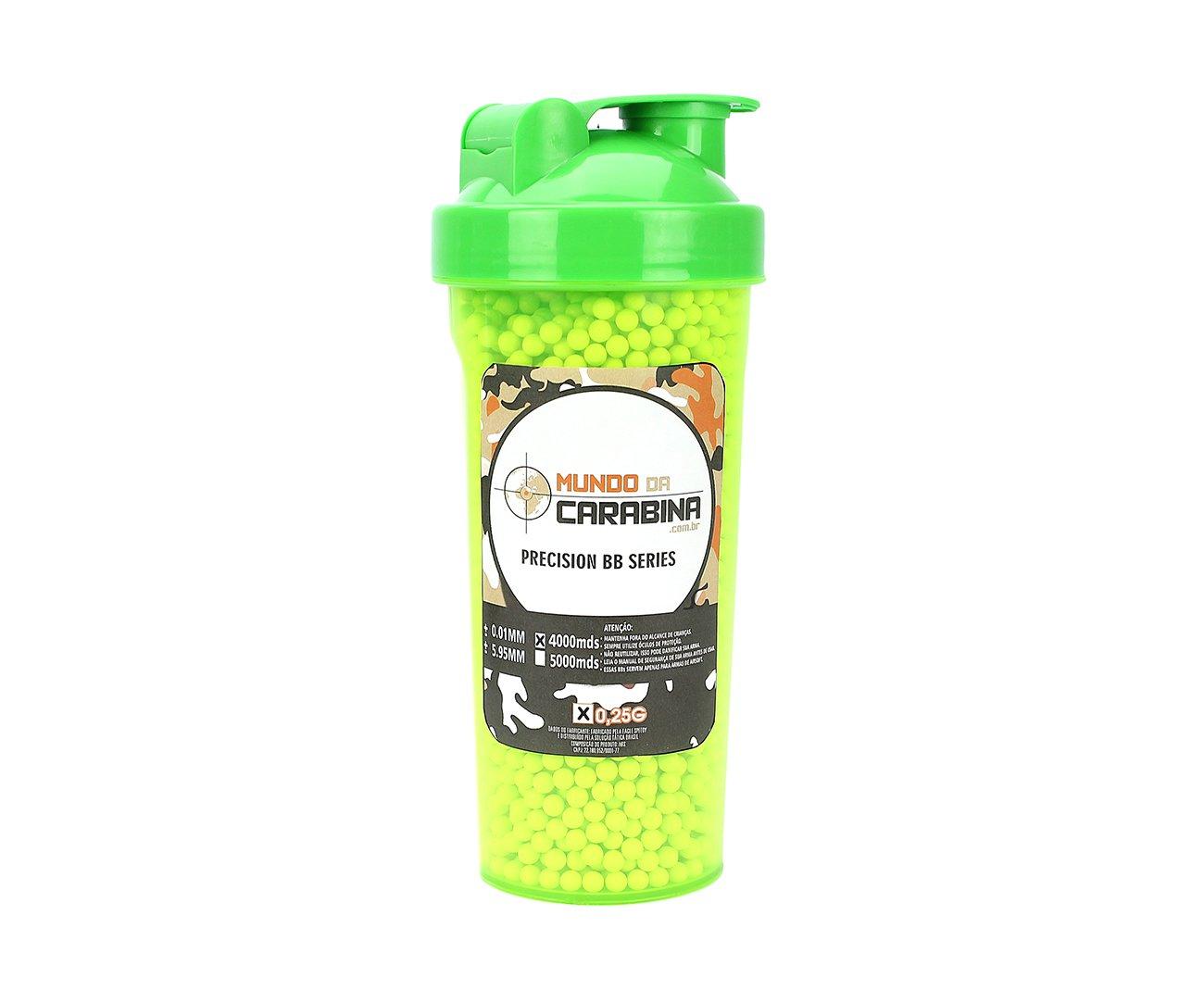 Esfera Plástica Premium Munda Da Carabina 0,25g Squeeze Plástico Verde Com 4000 Unid