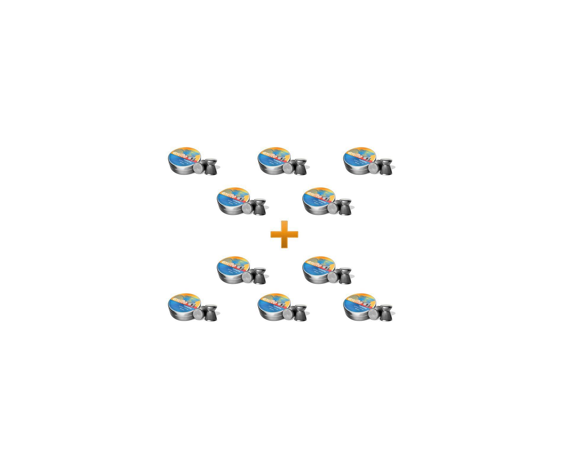 Kit Chumbinho Econômico H&n Excite Plinking Cal 4,5 Mm - 10 Latas C/ 500 Unds Cada