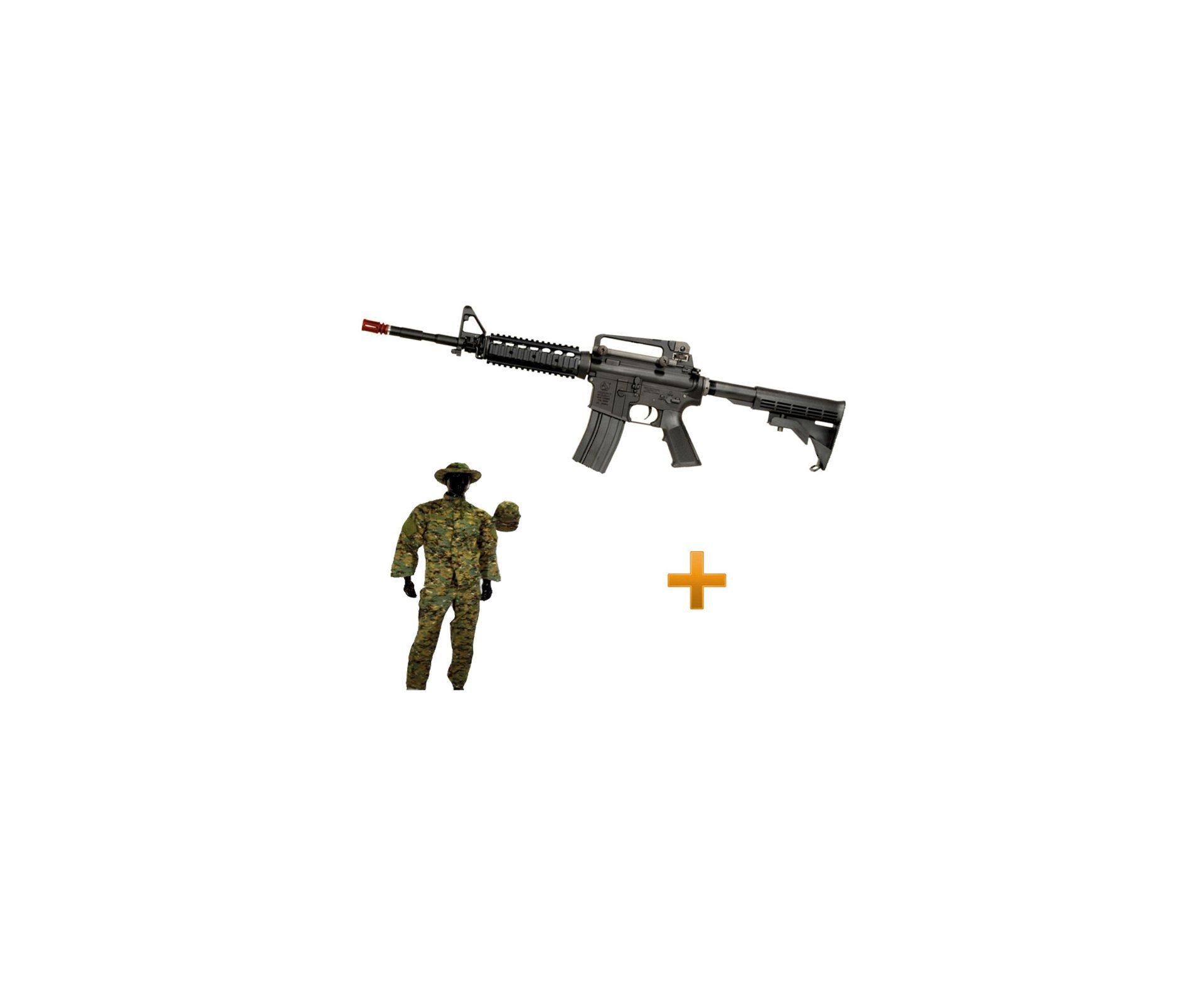 Rifle De Airsoft Colt M4a1ris Cal 6,0 Mm - King Arms + Farda Marpat Digital Selva Swiss+arms - Tamanho Gg
