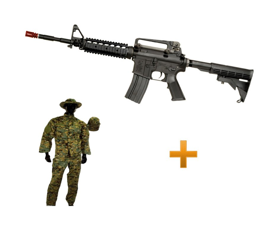 Rifle De Airsoft Colt M4a1ris Cal 6,0 Mm - King Arms + Farda Marpat Digital Selva Swiss+arms - Tamanho Xg