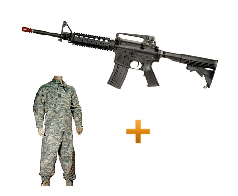 Rifle De Airsoft Colt M4a1ris Cal 6,0 Mm - King Arms + Farda Acu Digital Urban Swiss+arms - Tamanho M