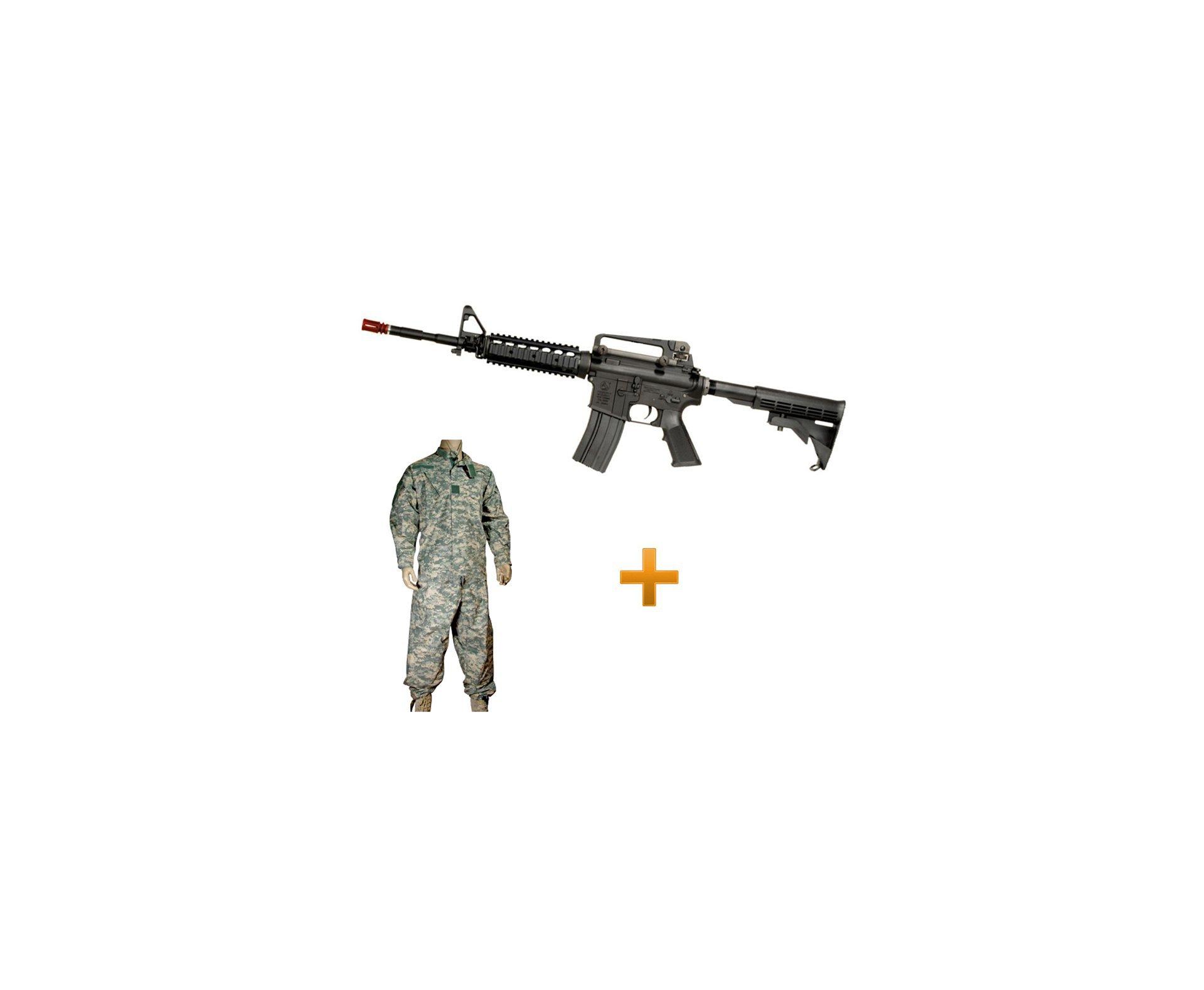 Rifle De Airsoft Colt M4a1ris Cal 6,0 Mm - King Arms + Farda Acu Digital Urban Swiss+arms - Tamanho Gg