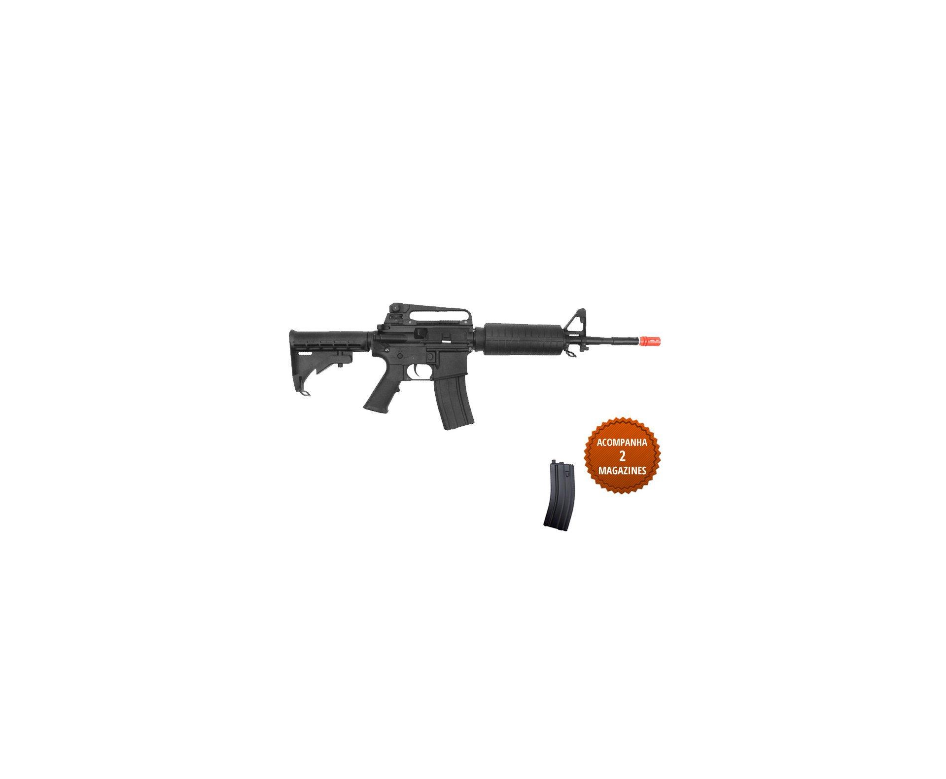 Rifle De Airsoft Colt M4a1 Carbine Semi/metal - Aeg - Cal 6,0 Mm (cyber Gun) + Pistola Glock Aeg Bivolt + Capa Hunter
