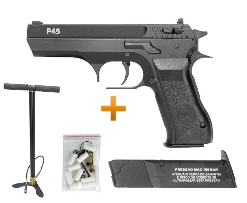 Pistola De Pressão Pcp Rossi Kwc P45  4,5mm Full Metal E Bomba Pcp