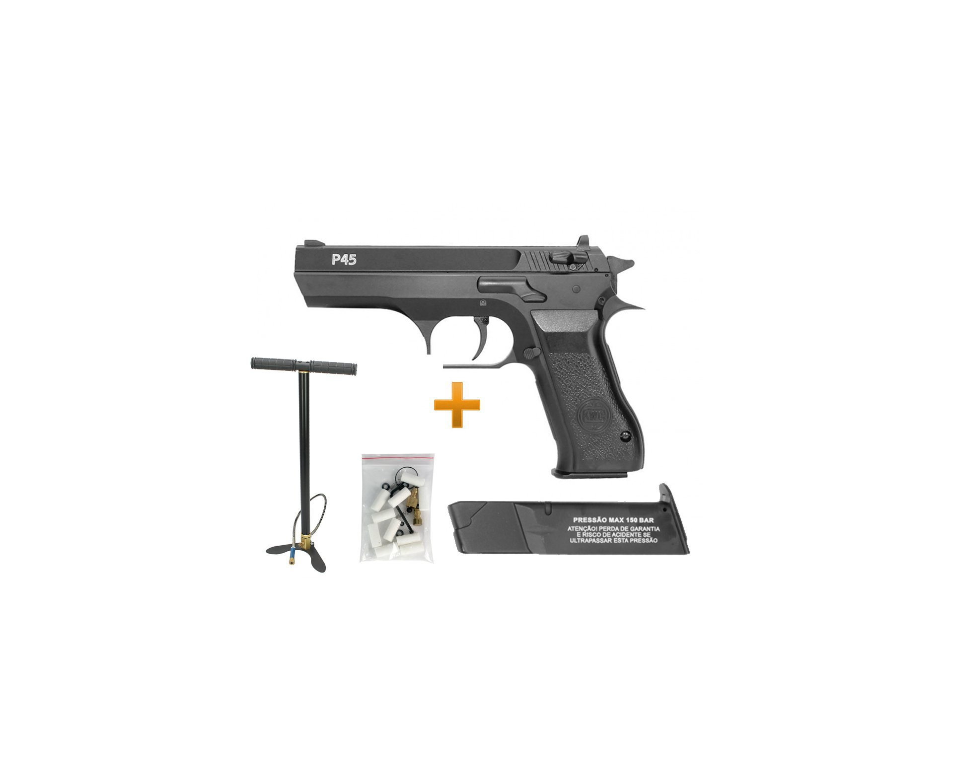 Pistola De Pressão Pcp Rossi Kwc P45  4,5mm Full Metal E Bomba Pcp