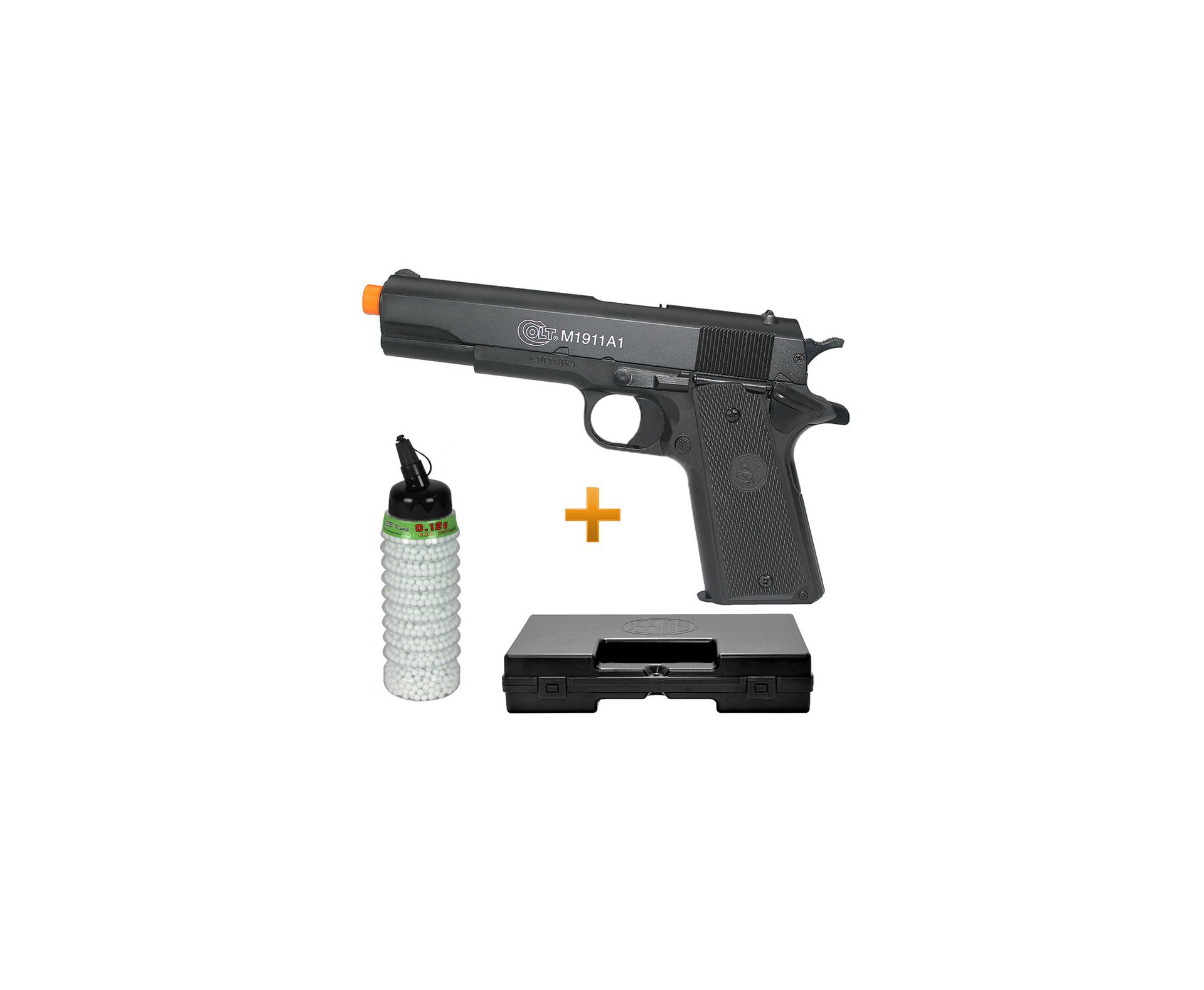 Pistola De Airsoft Colt 1911 A1 - Semi Metal - Calibre 6,0 Mm - Colt + 2000 Esferas + Case