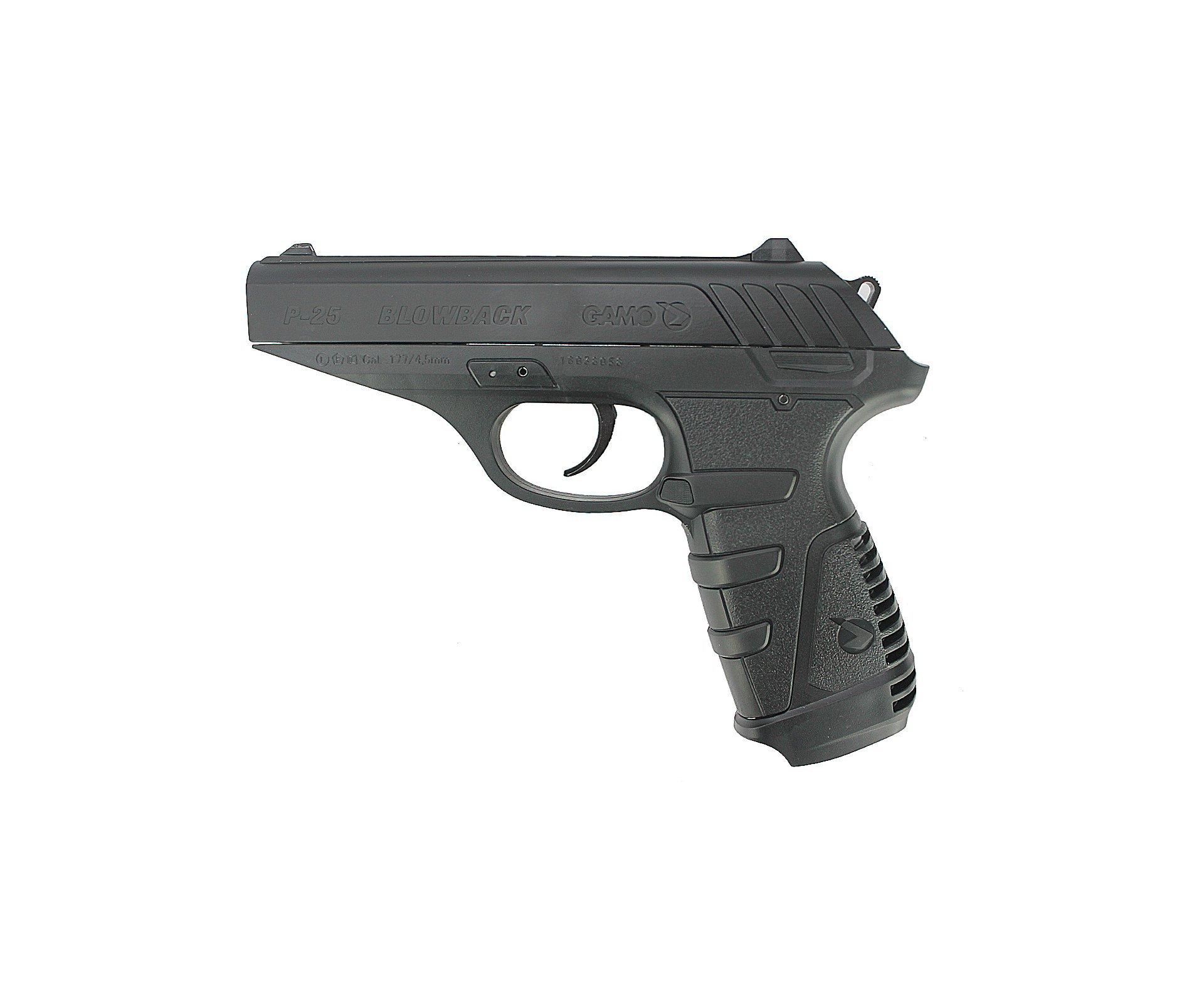 Pistola De Pressão A Gás Gamo Gbb Co2 P-25 Blowback Slide Metal Black 4.5mm